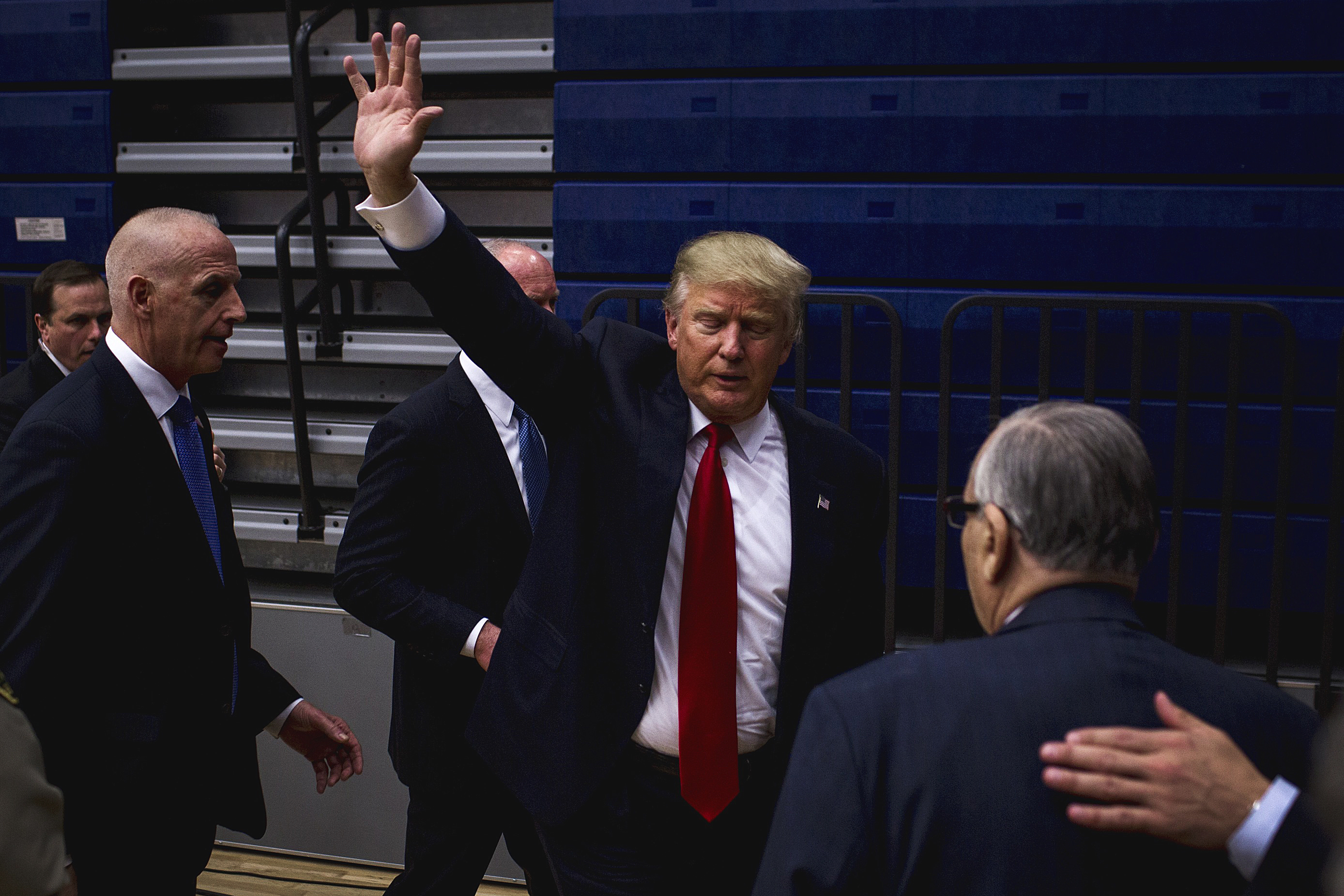 Donald Trump at his rally in Des Moines, Iowa on Jan. 26, 2016.