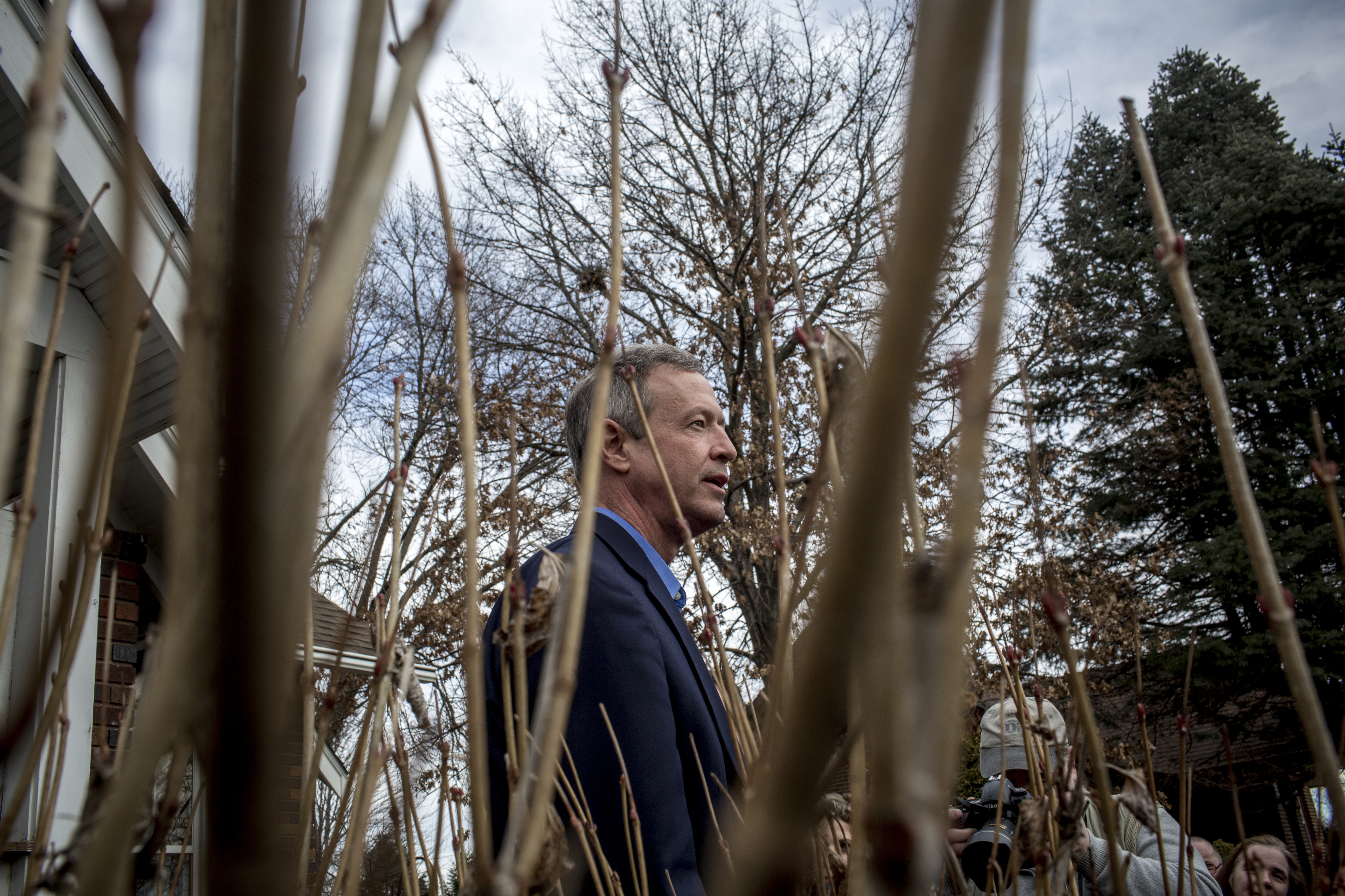 Martin O'Malley holds a campaign rally at a supporter's home in Johnston, Iowa on Jan. 31, 2016.