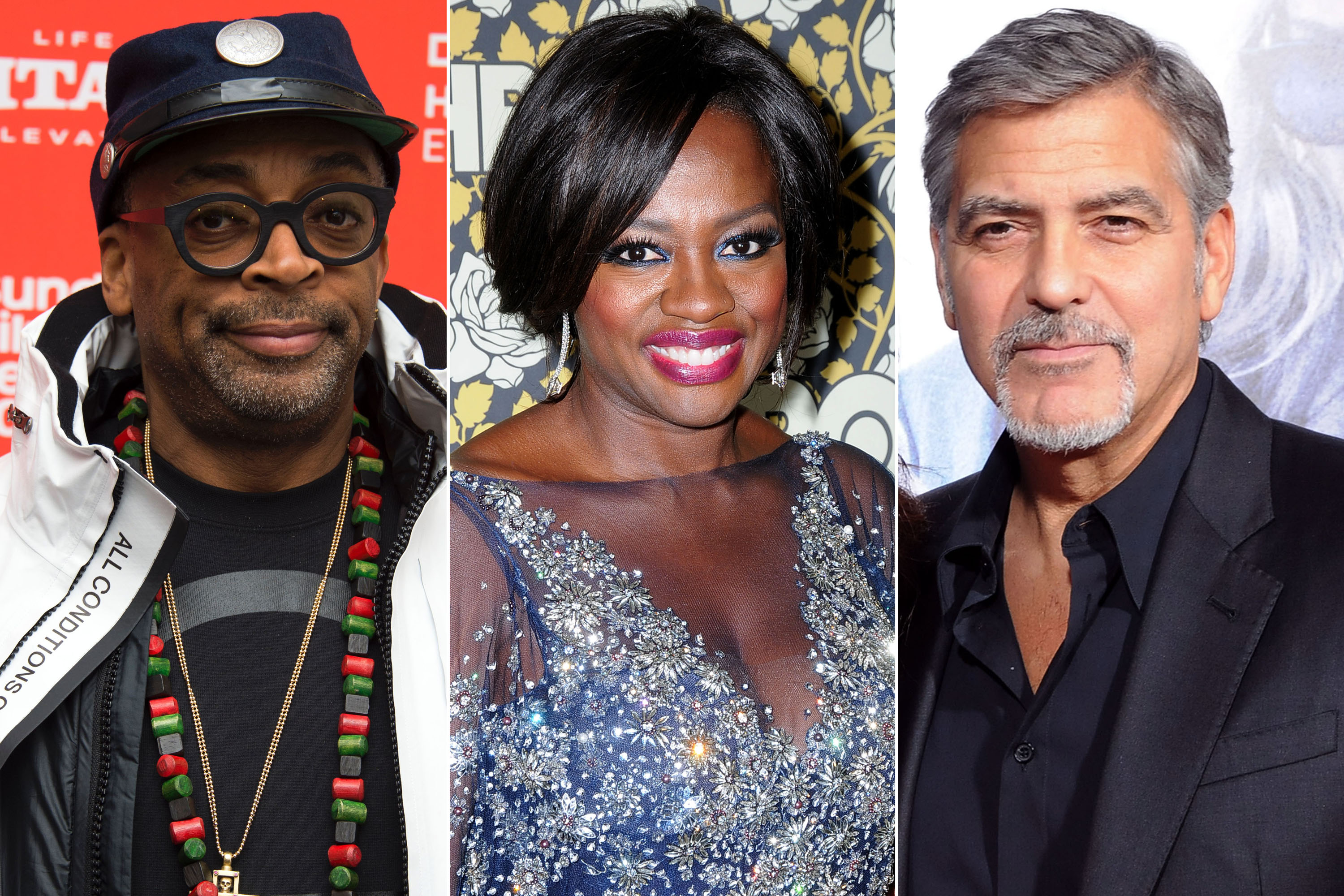 From left to right; director Spike Lee, actress Viola Davis and actor and producer George Clooney.