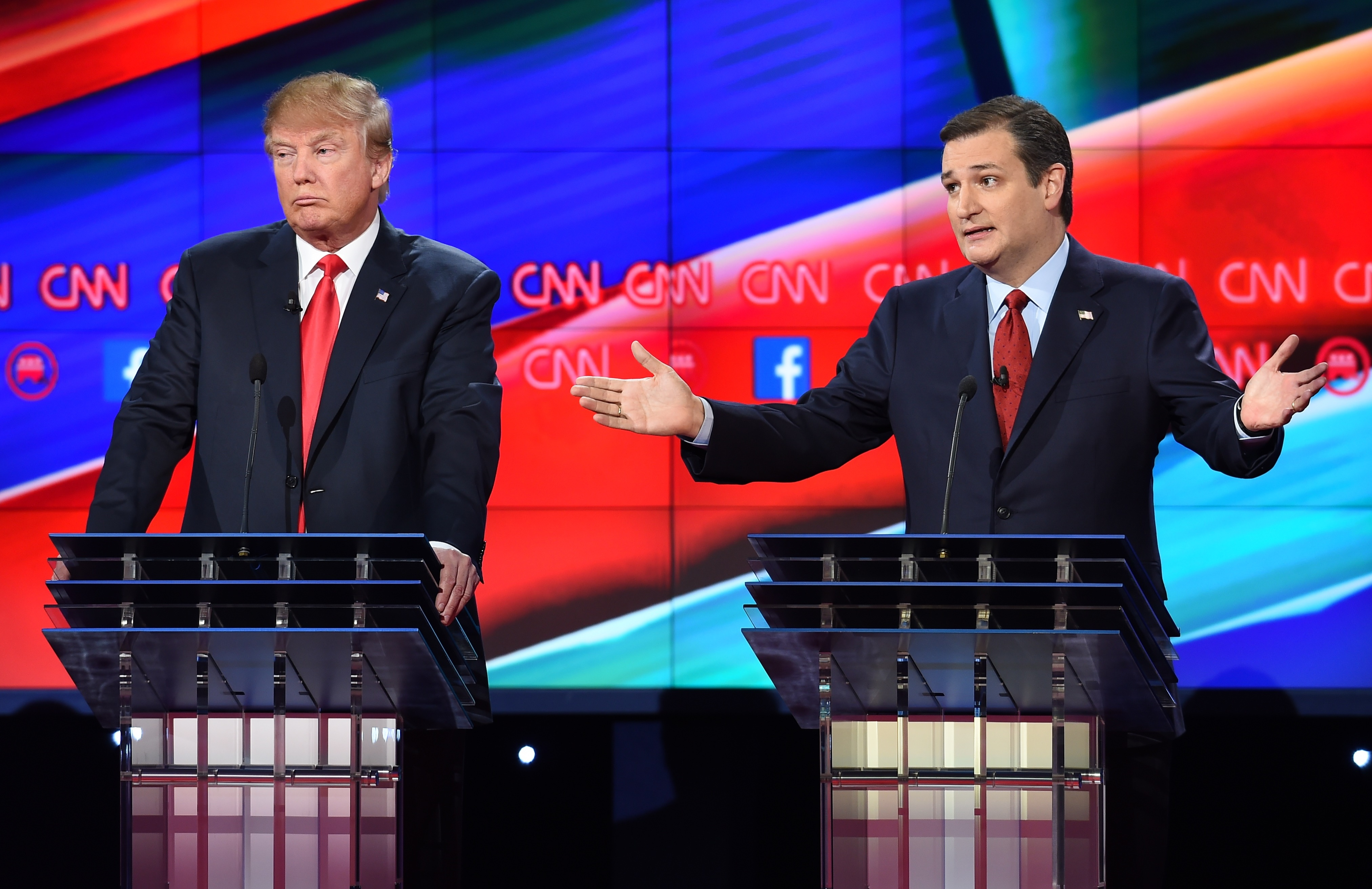 Donald Trump and Ted Cruz during the Republican Presidential Debate on Dec. 15, 2015 in Las Vegas, Nevada.