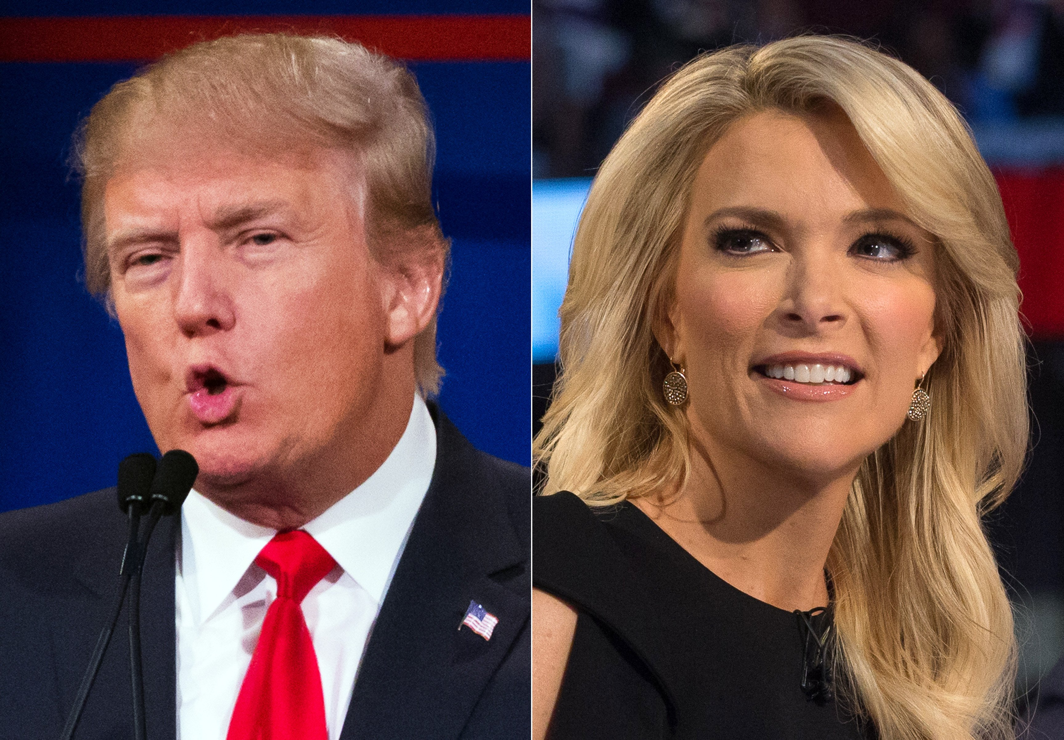 Donald Trump, left, and Megyn Kelly during the first Republican debate at the Quicken Loans Arena in Cleveland Ohio, Aug. 6, 2015.