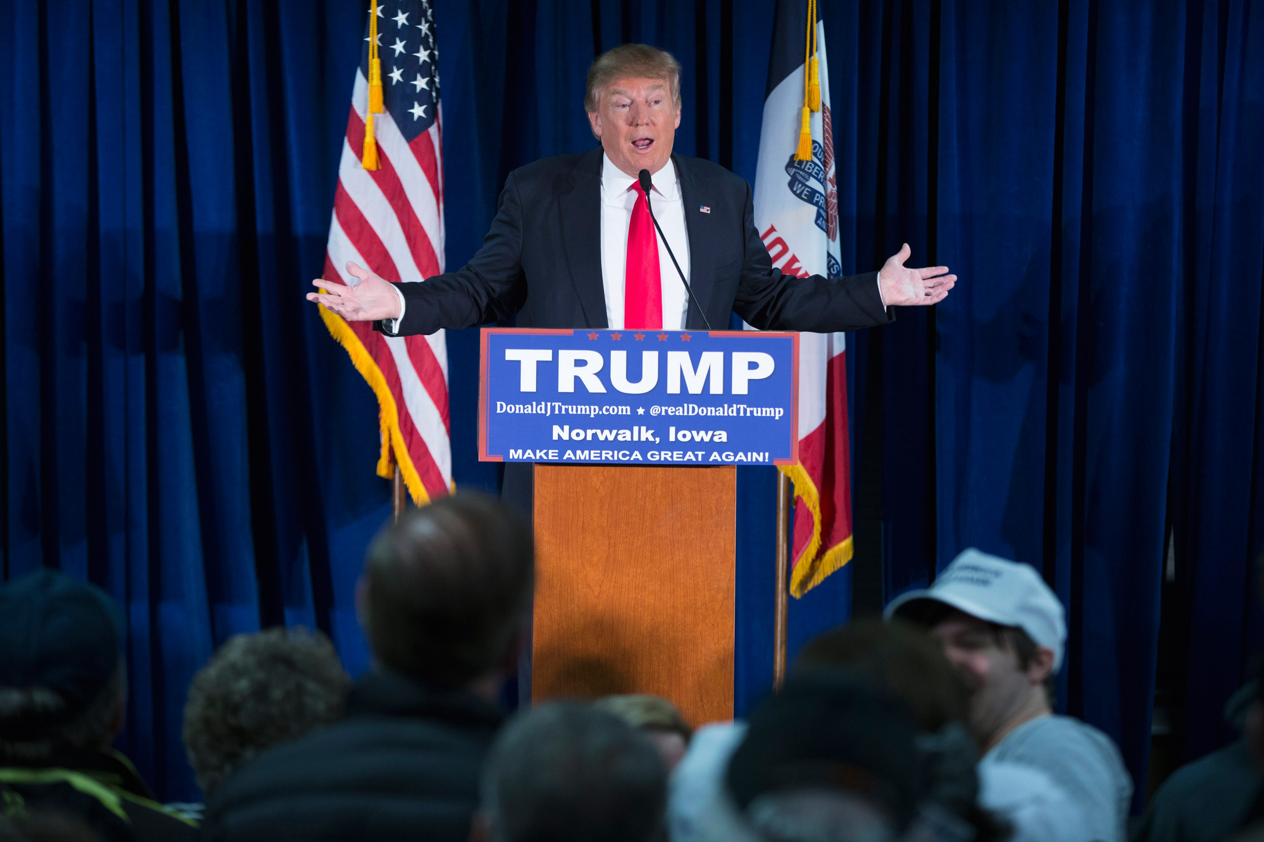 Republican presidential candidate Donald Trump speaks during a campaign event in Norwalk, Iowa, on Jan. 20, 2016.