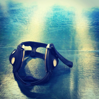 Typical headgear worn by high school wrestlers in competition
