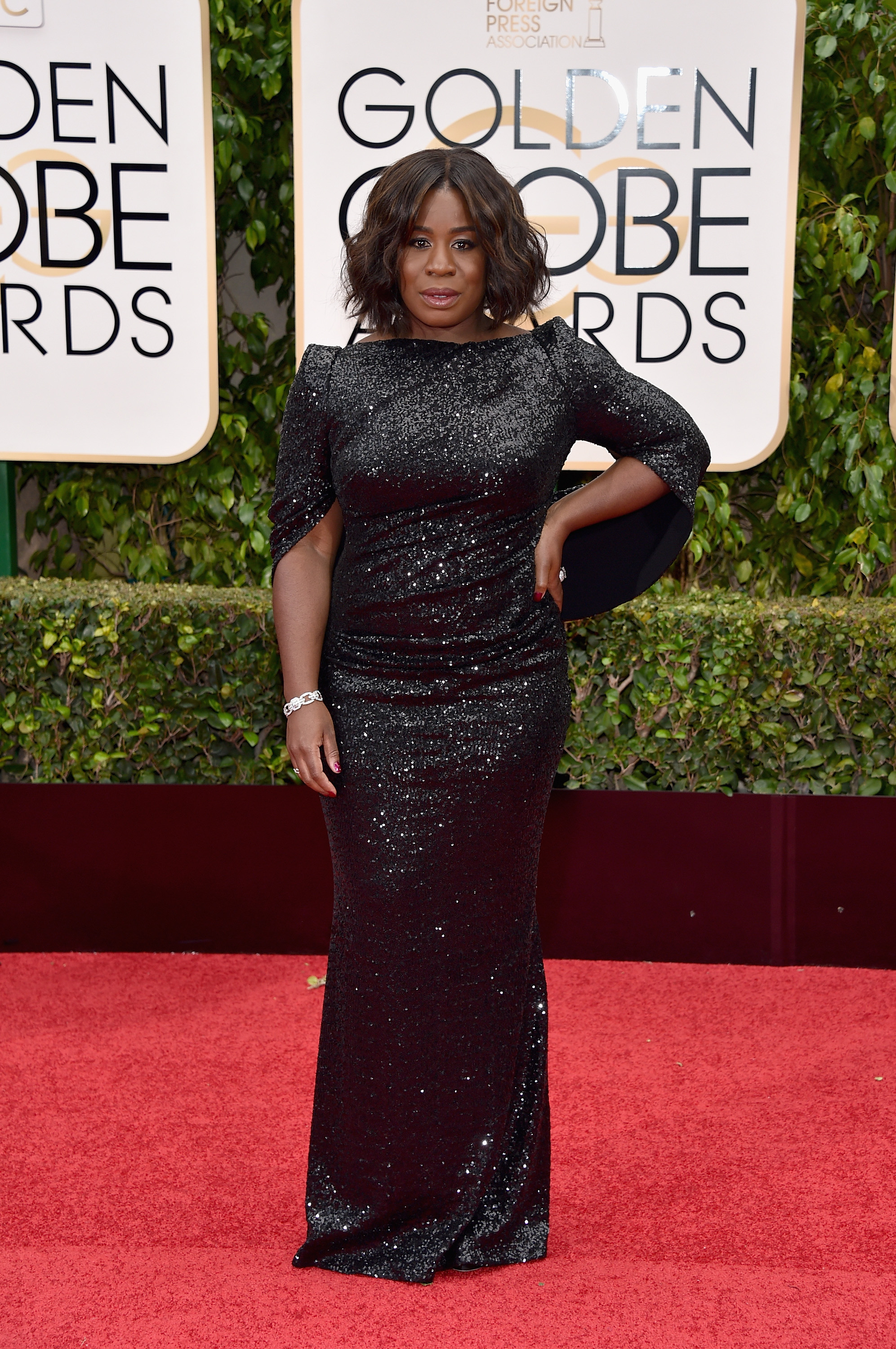 Uzo Aduba arrives to the 73rd Annual Golden Globe Awards on Jan. 10, 2016 in Beverly Hills.