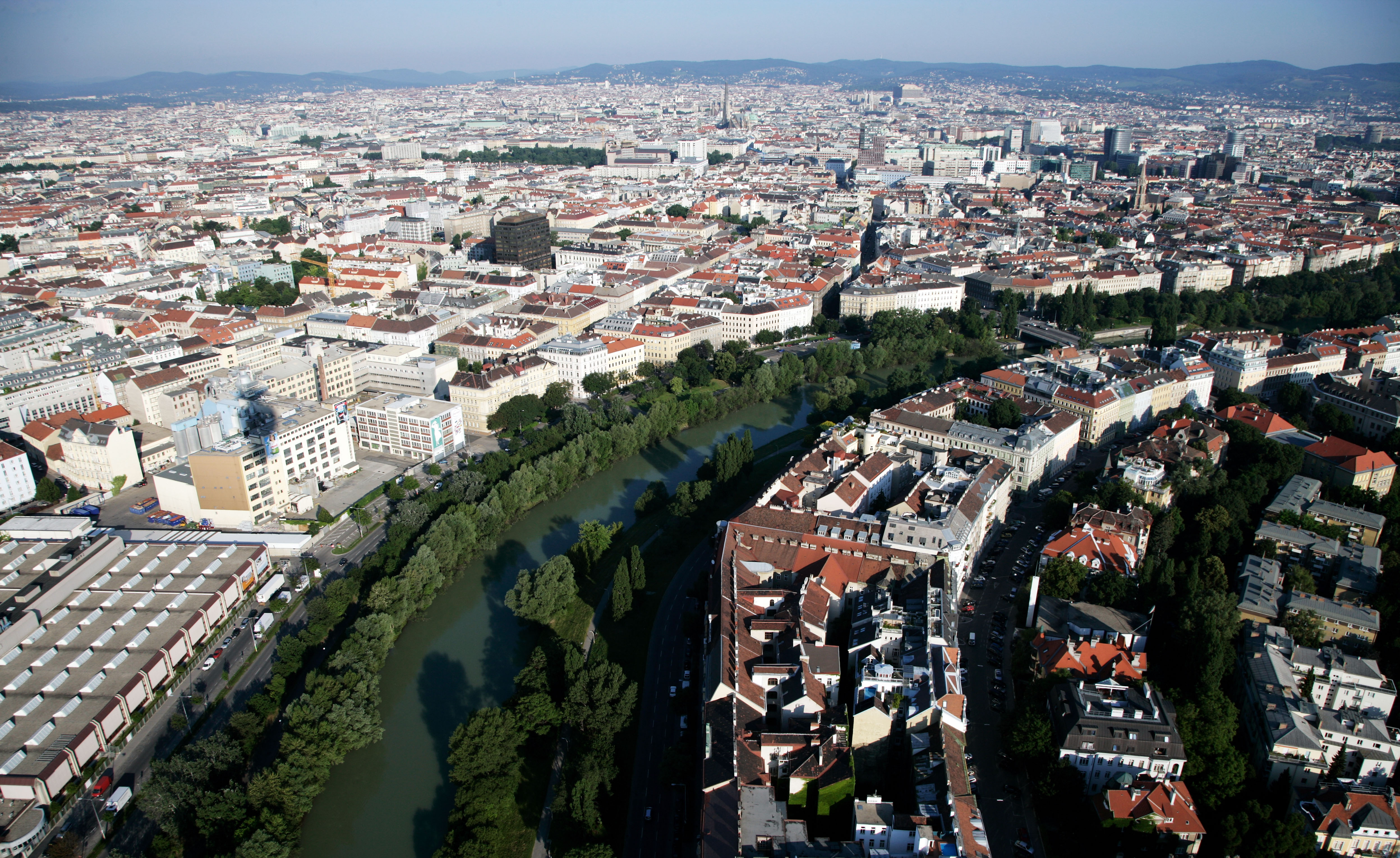 A general view of Vienna showing the River Danube on Jun. 22, 2008 in Vienna, Austria.