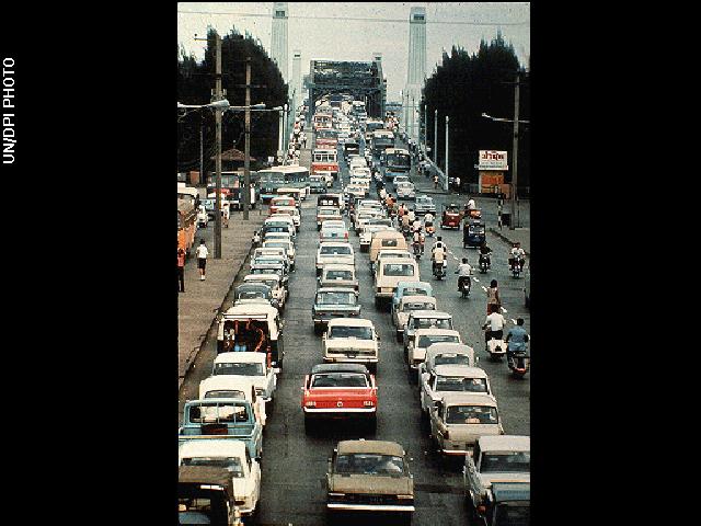 Traffic congestion at rush hour jam in Bangkok in 1972.