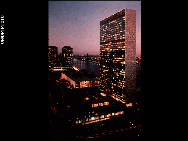 The United Nations headquarters in New York City in 1968.
