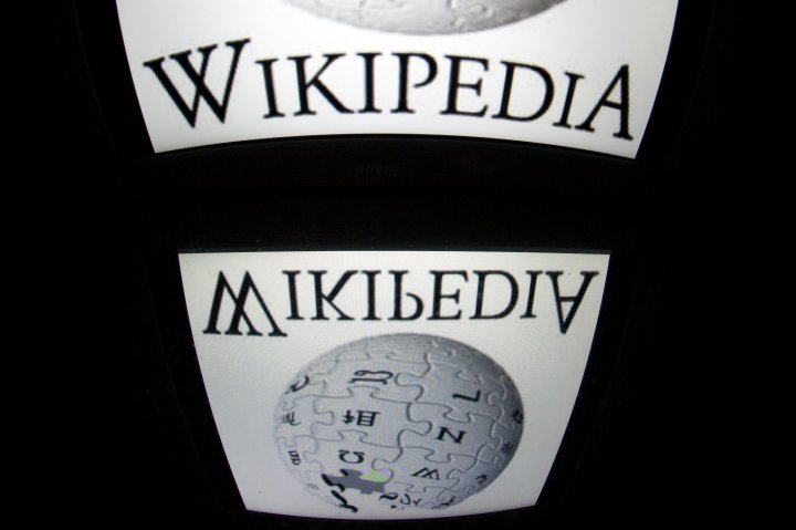Wikipedia's logo is seen on a tablet screen on Dec. 4, 2012 in Paris.