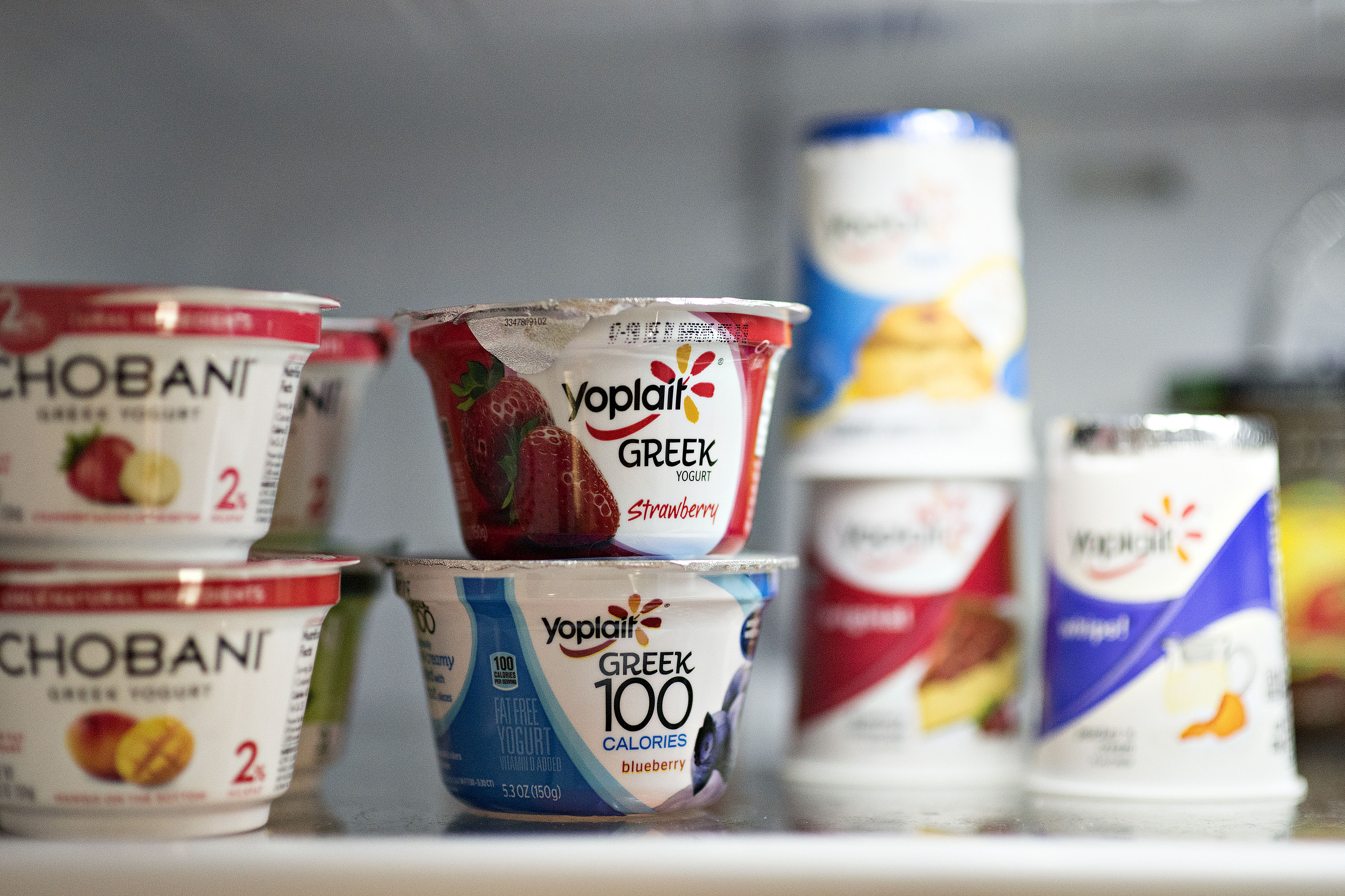 General Mills Inc. Yoplait brand yogurt products arranged for a photograph in Tiskilwa, Illinois, U.S., on Wednesday, March 18, 2015.