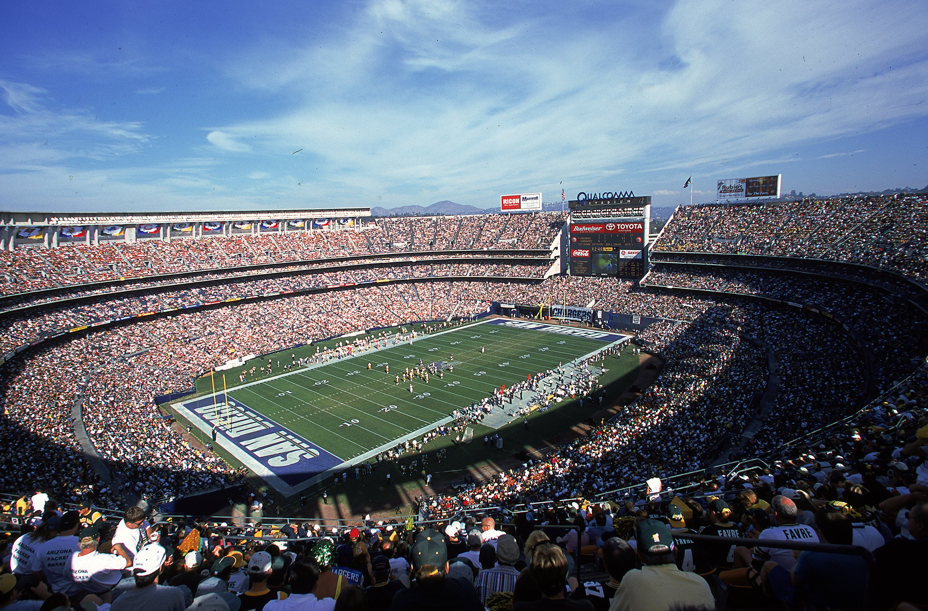 Originally christened San Diego Stadium when it opened in 1967, the complex was renamed Jack Murphy Stadium in honor of a local sportswriter who passed away in 1980. The name changed to its current moniker, Qualcomm, after a 1997 renovation; the field is currently the home of the San Diego Chargers.