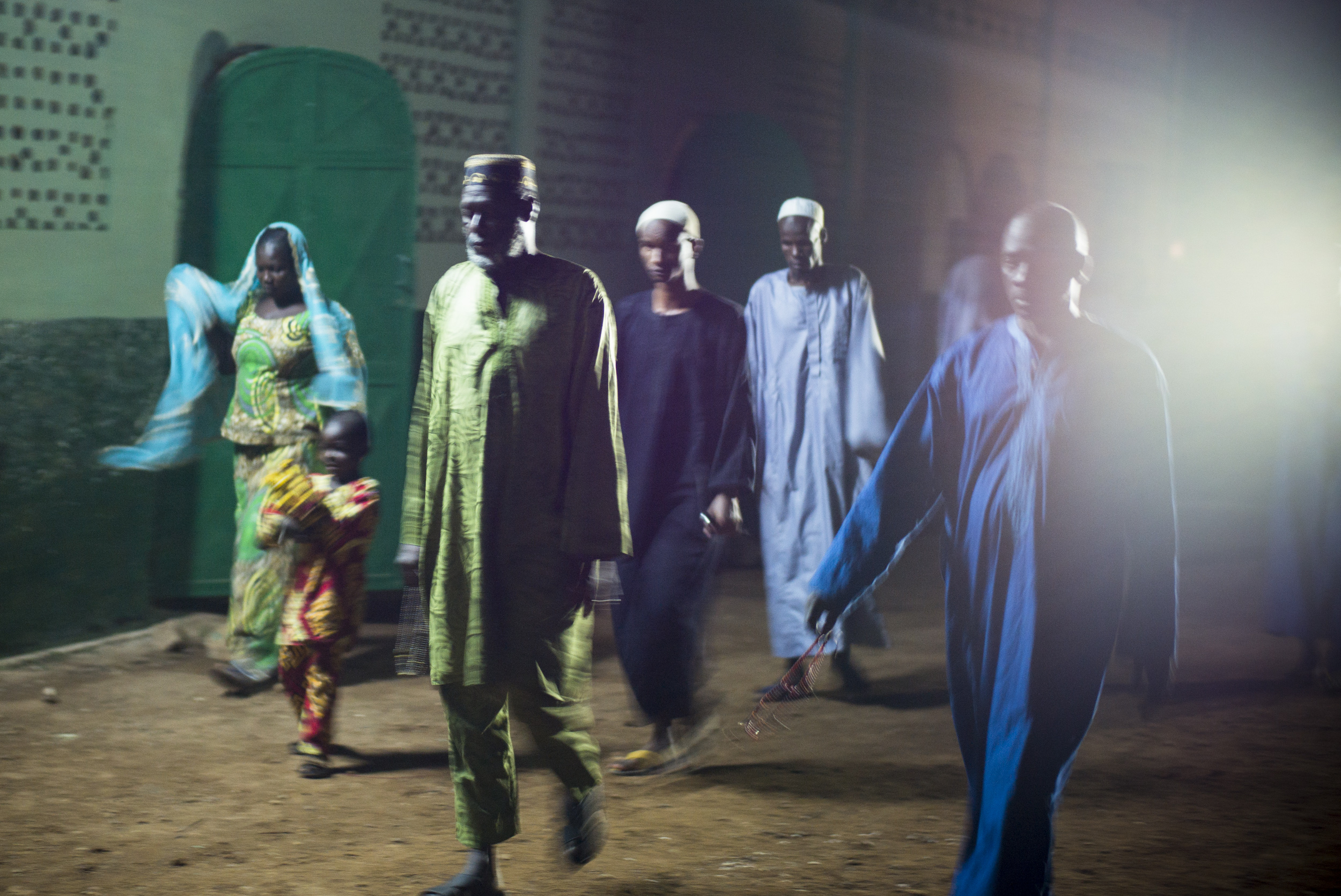 Muslims leave the central mosque after the first prayer of the day in Bangui, Central African Republic, Nov. 30, 2015.