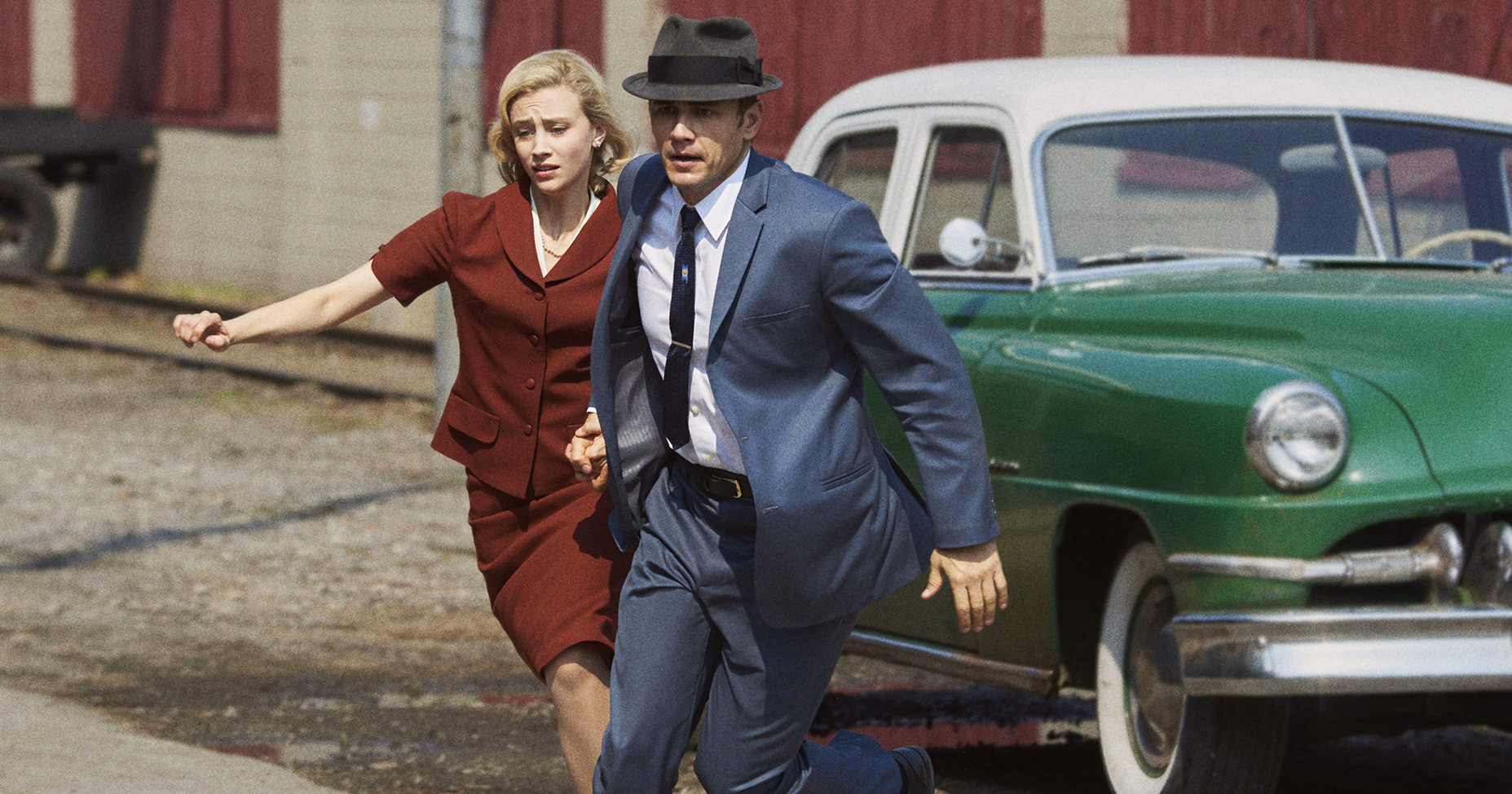 Sarah Gadon, as Sadie Dunhill, and James Franco, as Jake Epping, in 11.22.63.