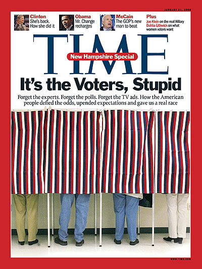 The Jan. 21, 2008, issue of TIME. (Hillary Clinton inset at top left.)