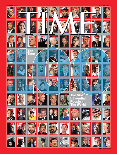 The May 12, 2008, issue of TIME. (Hillary Clinton under the second zero in  100. )