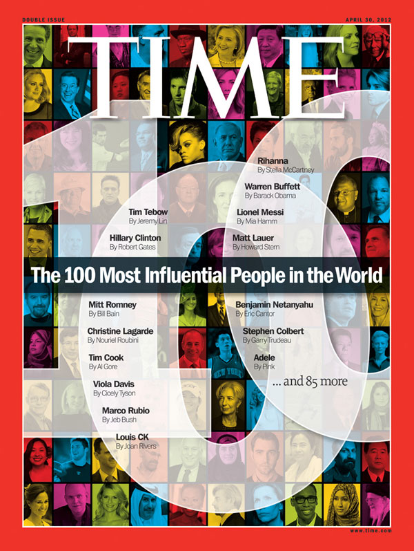 The Apr. 30, 2012, issue of TIME. (Hillary Clinton near top center.)