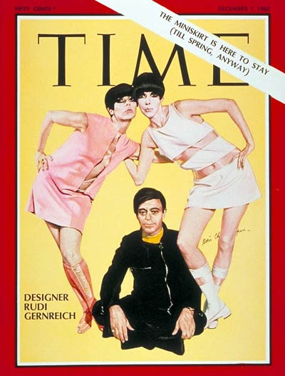 Two unnamed models, with designer Rudi Gernreich, on the Dec. 1, 1967, cover of TIME