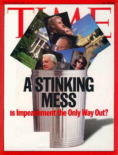 The Sep. 28, 1998, issue of TIME. (Hillary Clinton at top center, behind Bill Clinton.)