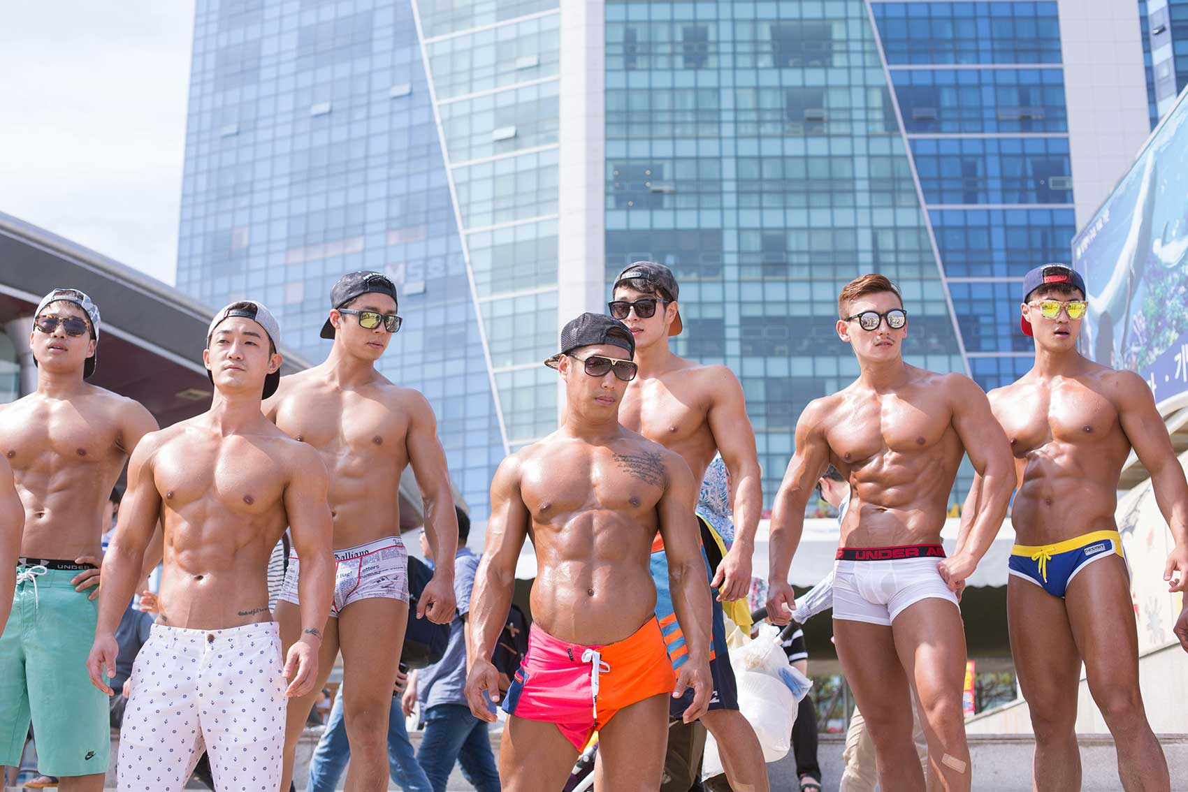 Bodybuilders at Haeundae Beach in Busan.                               Koreans are mad about health and physical appearance. Here appearance matters most; both in terms of beauty and conformity to norms.