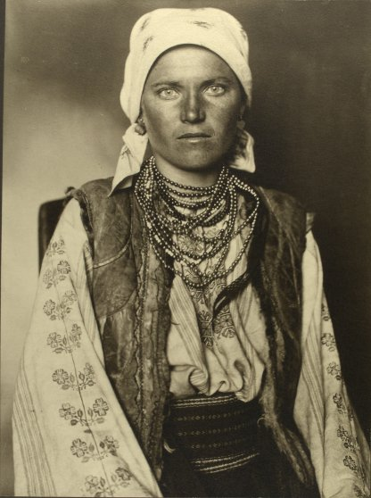 Portrait of a Ruthenian woman at the Ellis Island Immigration Station, 1906.