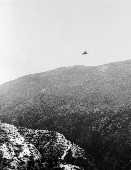 UFO over Mountain Above Skyline in Riverside, California in 1951.