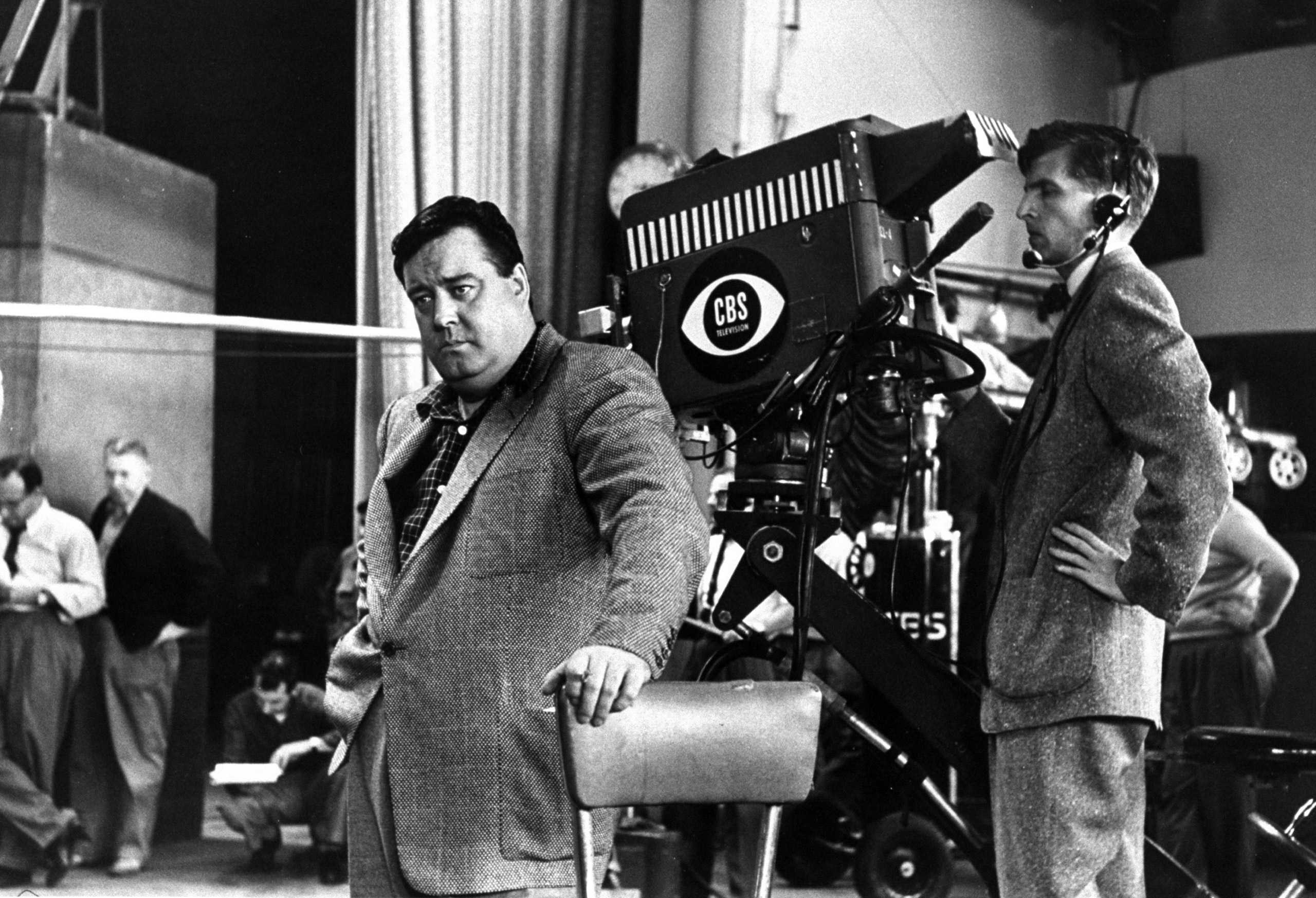 Jackie Gleason on the set of The Honeymooners.
