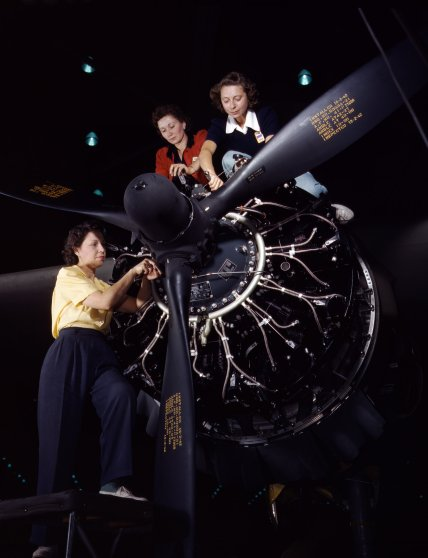 Women at work on bomber, Douglas Aircraft Company, Long Beach, California, October 1942. Photographed by Alfred T. Palmer for the Farm Security Administration.