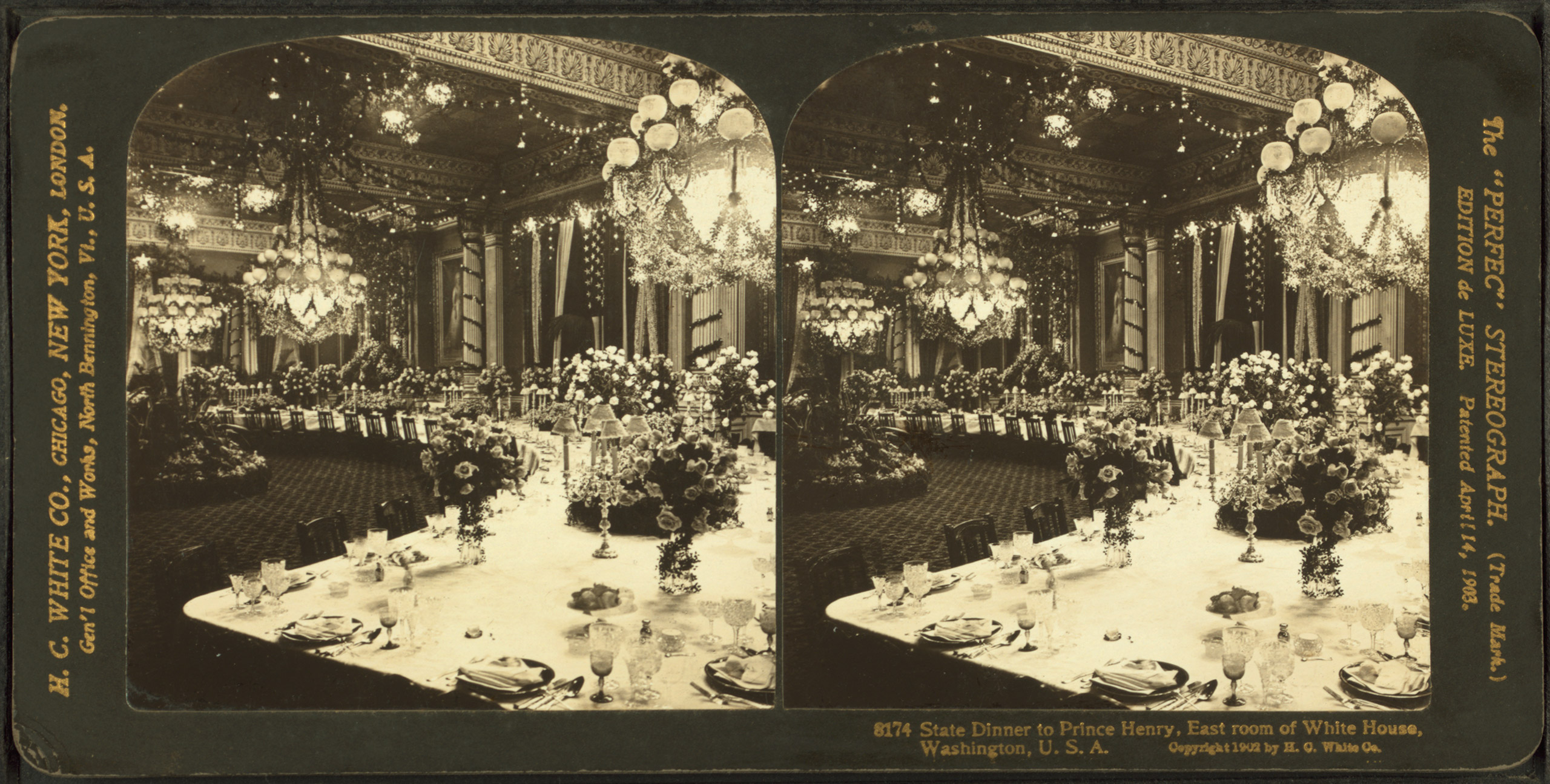 State dinner to Prince Henry of Prussia. East Room of White House, Washington D.C., 1902. Theodore Roosevelt, President.