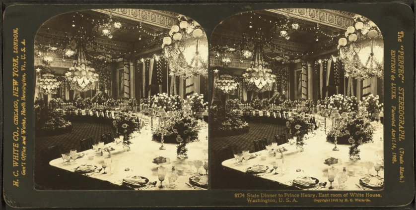 State dinner to Prince Henry. East Room of White House, Washington D.C., 1902. Theodore Roosevelt, President.