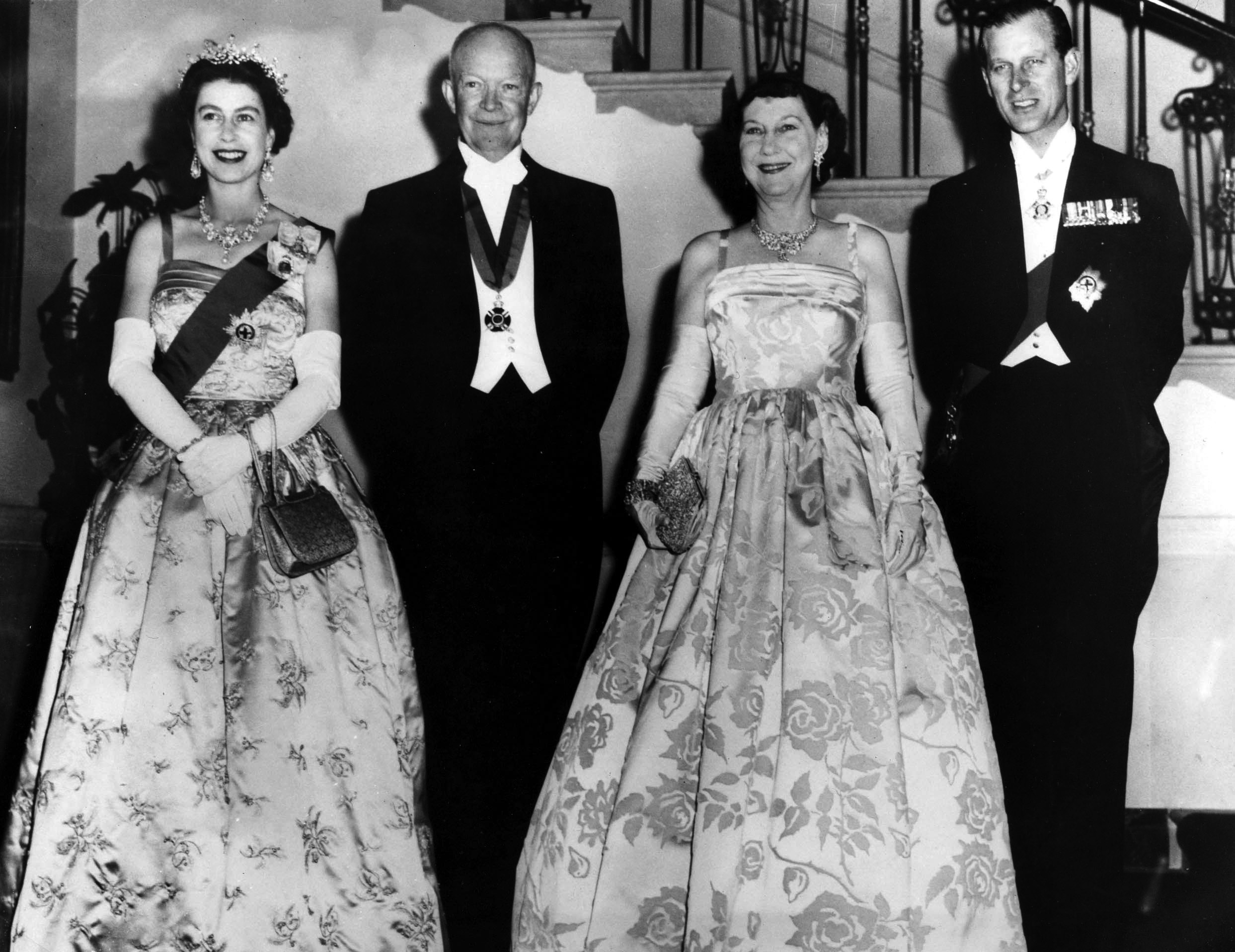 President Dwight D, Eisenhower and Mamie Eisenhower, center, with Queen Elizabeth and Prince Philip before a state dinner in the White House, Washington D.C., on Oct. 17, 1957.