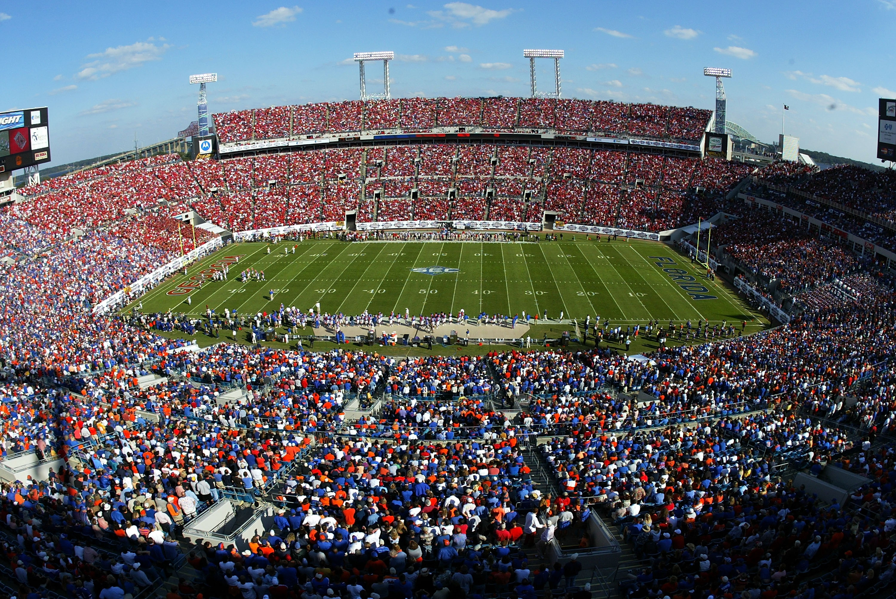 Previously known as Alltel Stadium, the venue was built where the historic Gator Bowl Stadium once stood. The gridiron opened in 1995 to house the Jacksonville Jaguars and annually hosts the Gator Bowl college football game.