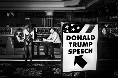 Signs direct supporters of Republican presidential candidate Donald Trump toward his campaign's Victory Party at Treasure Island in Las Vegas on Feb. 23, 2016.