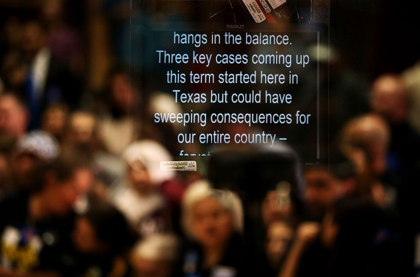Notes appear on a teleprompter after Democratic presidential candidate, former Secretary of State Hillary Clinton spoke at a campaign rally at Texas Southern university on Feb. 20, 2016 in Houston.