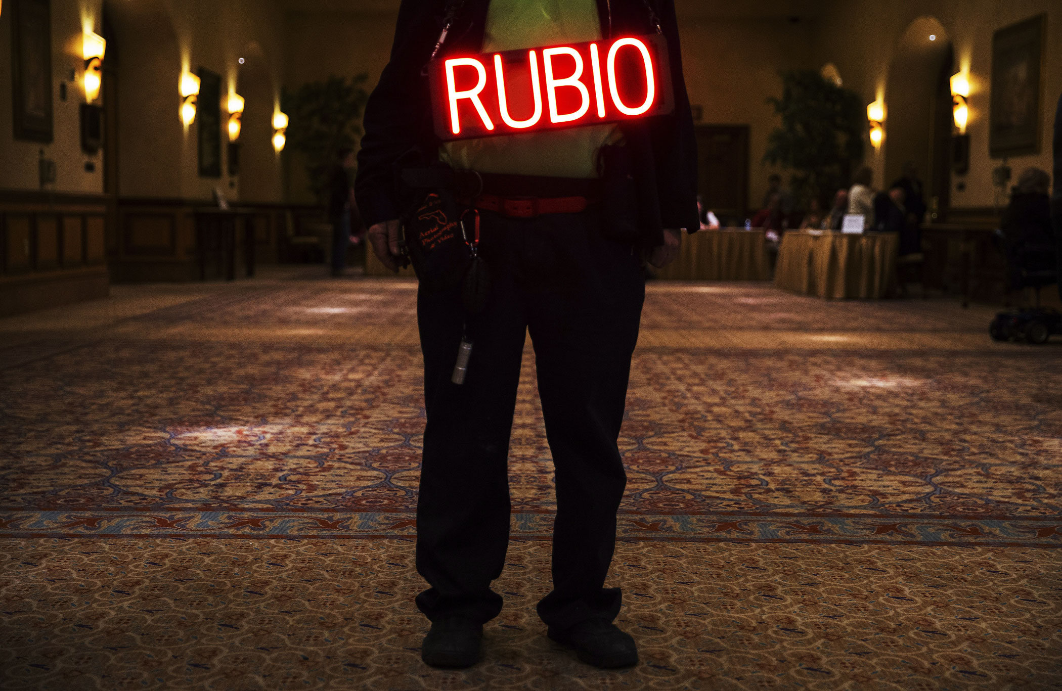 A supporter wears a sign at a rally for Republican presidential candidate Marco Rubio at Texas Station in North Las Vegas on Feb. 21, 2016.