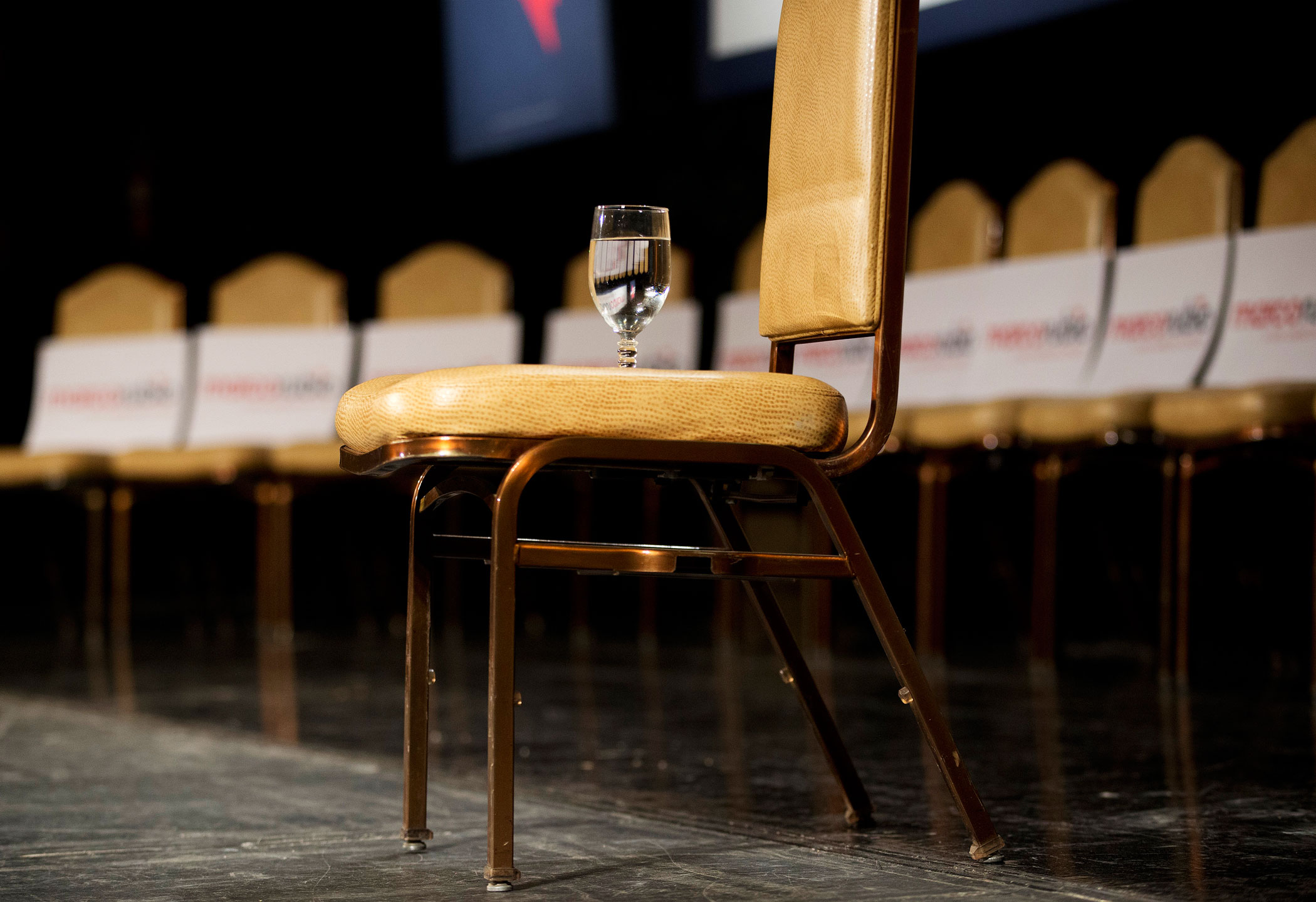A glass of water for Florida Sen. Marco Rubio is placed on a chair at a rally on Feb. 21, 2016, in North Las Vegas.