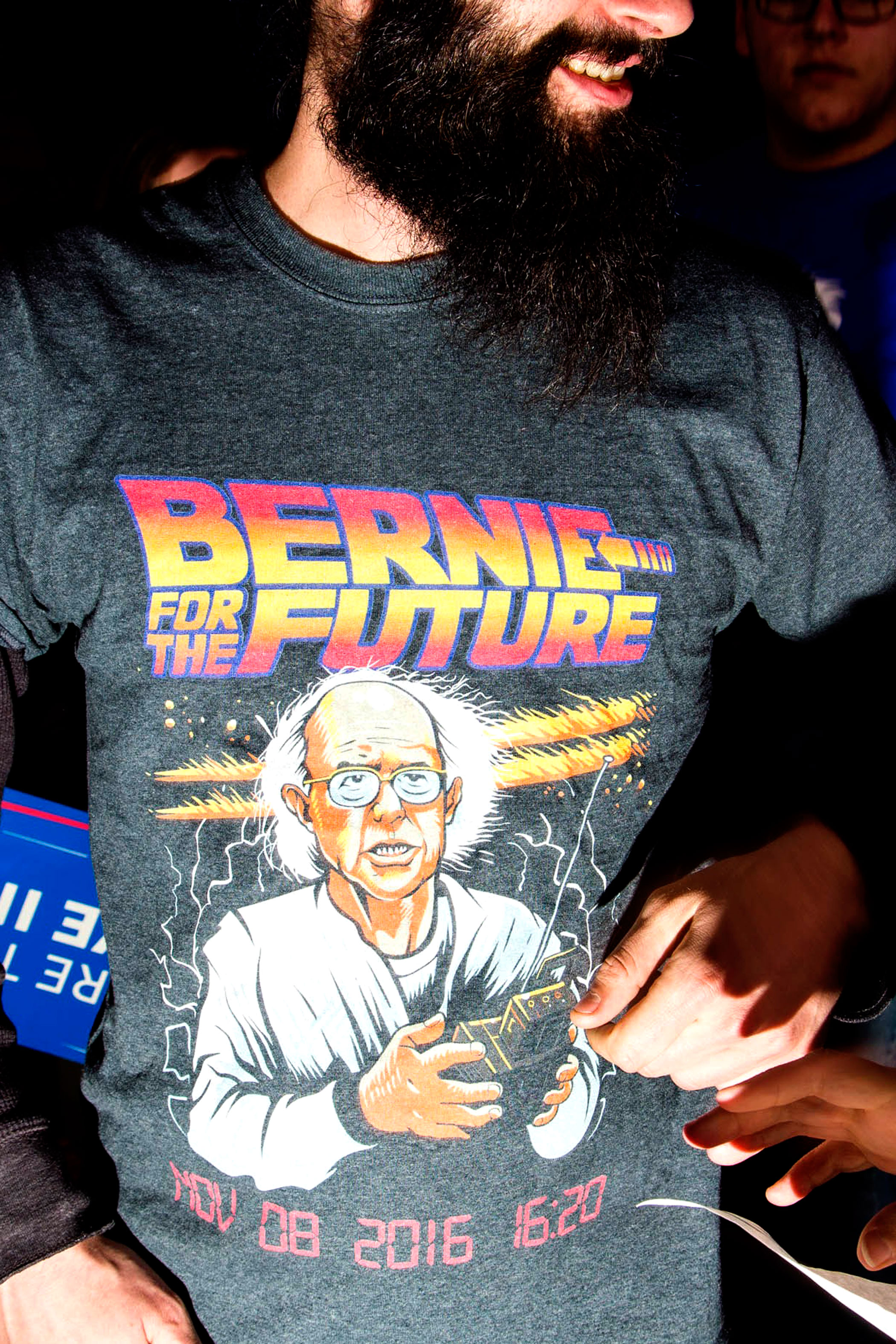 A supporter for Democratic presidential candidate and Vermont Sen. Bernie Sanders on  Feb. 9, 2016, in Concord, N.H.