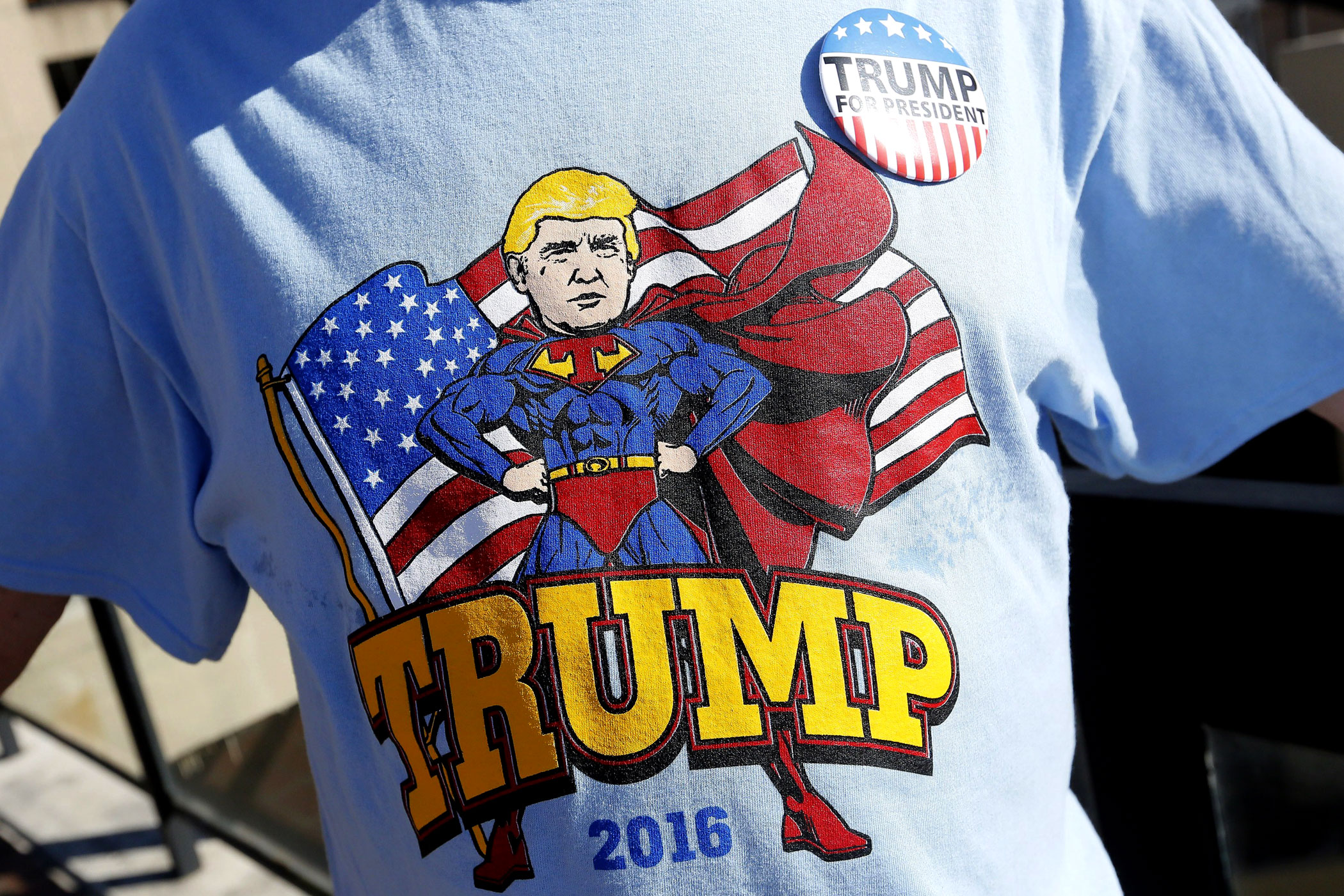 A supporter of Republican presidential candidate Donald Trump attends a rally in Baton Rouge, La. on Feb. 11.