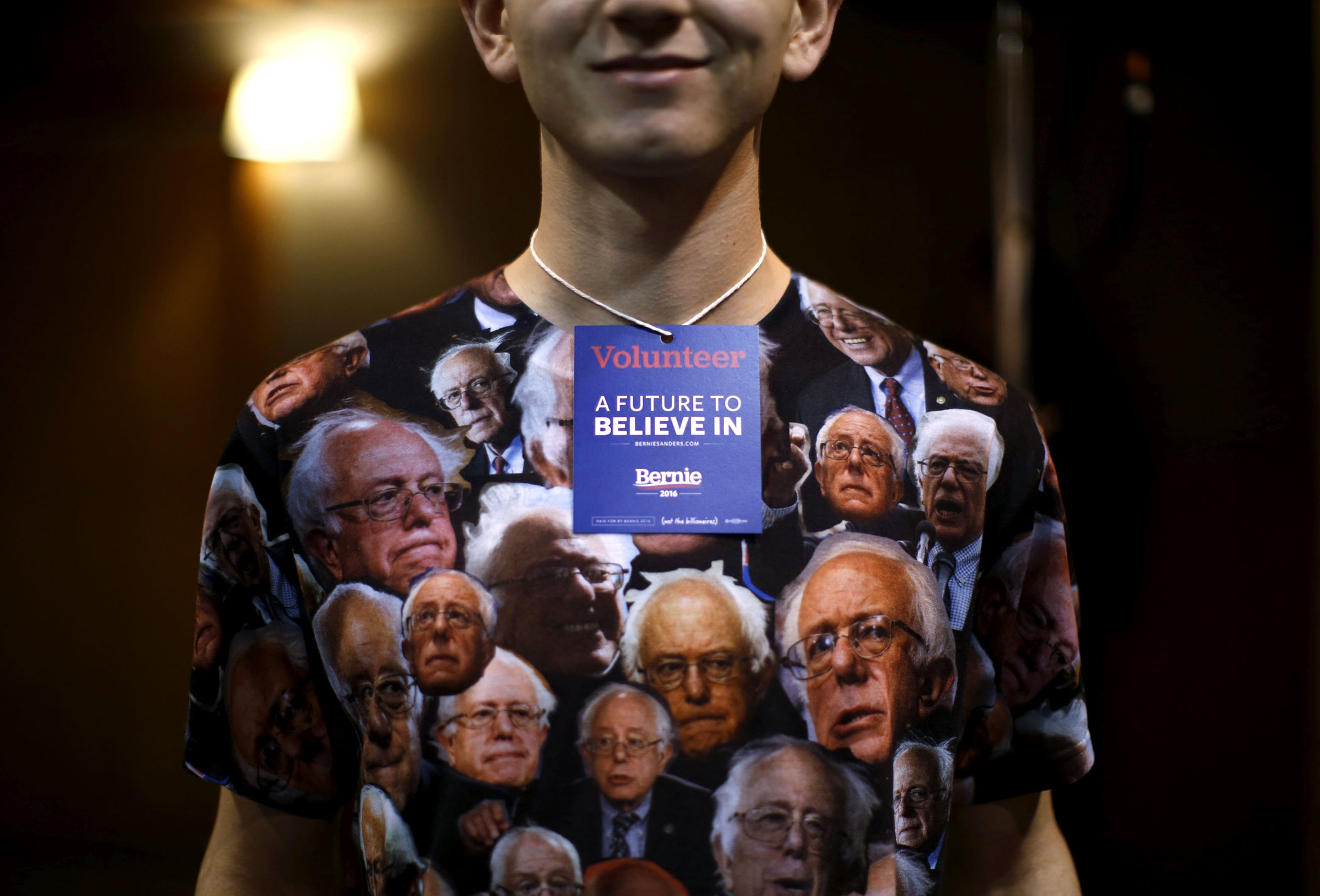 A supporter of Vermont Sen. Bernie Sanders in Fort Dodge, Iowa on Jan. 19, 2016.