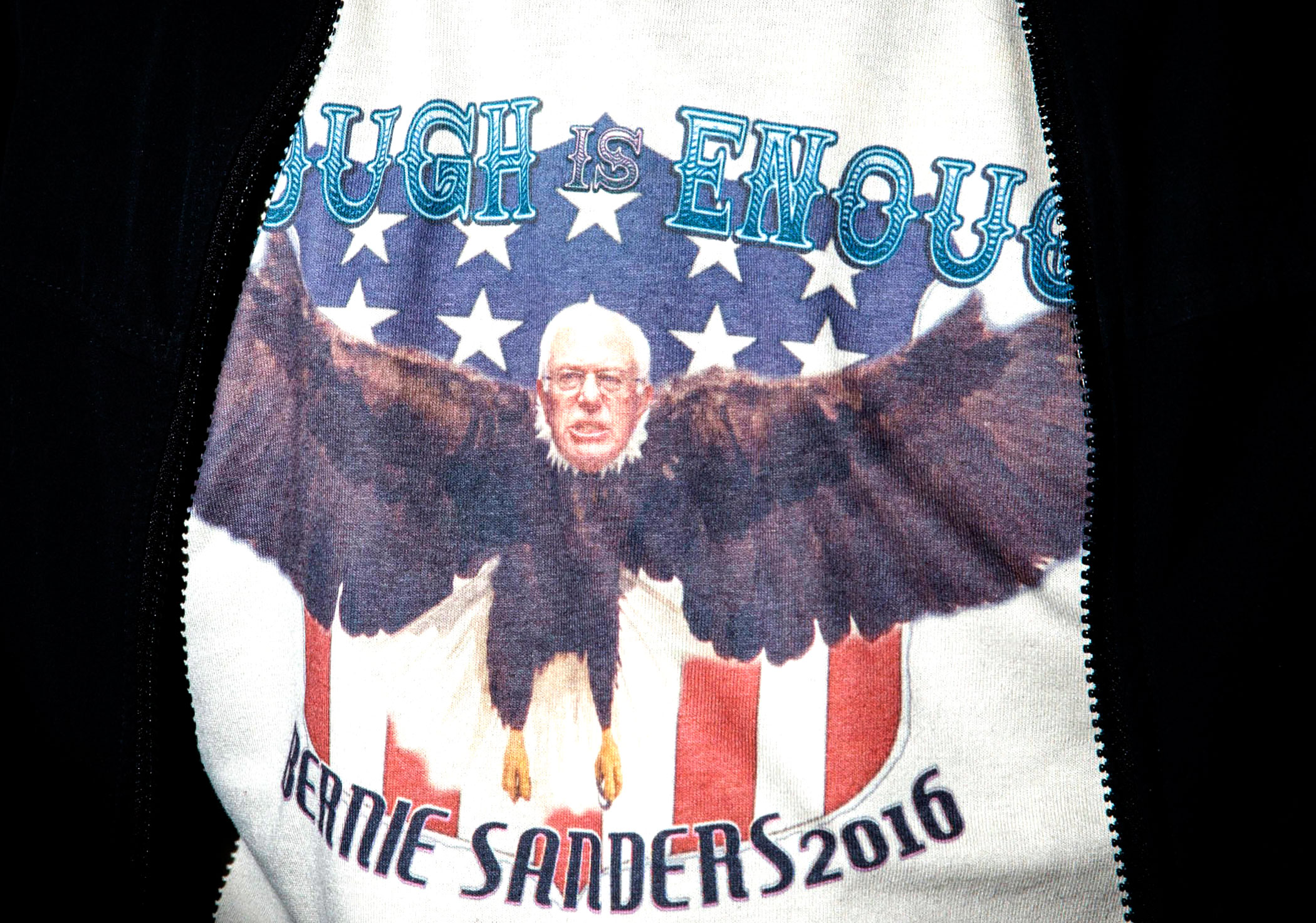 A supporter for Democratic presidential candidate and Vermont Sen. Bernie Sanders on  Feb. 9, in Concord, N.H.