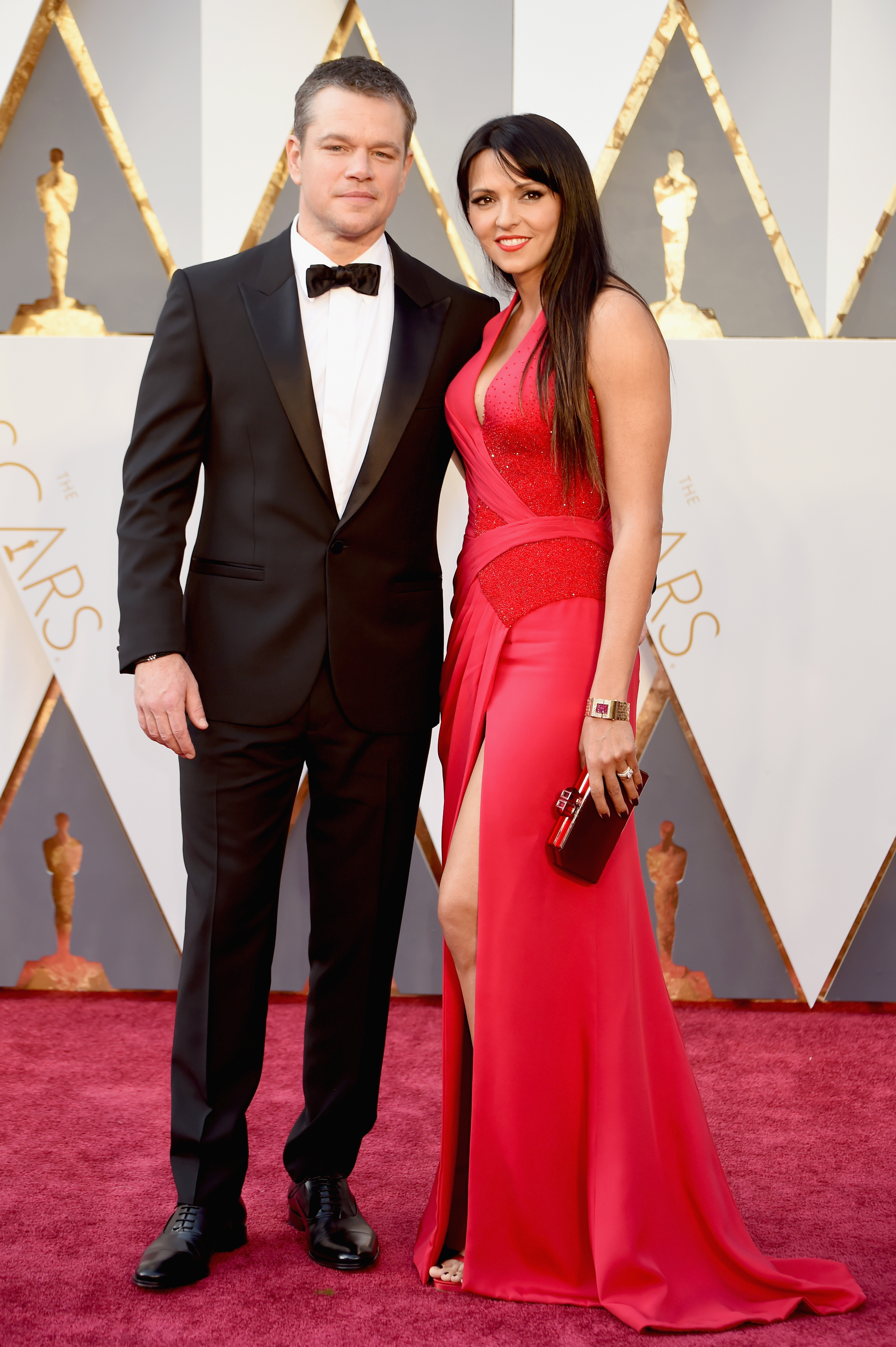 Matt Damon and Luciana Barroso attend the 88th Annual Academy Awards on Feb. 28, 2016 in Hollywood, Calif.