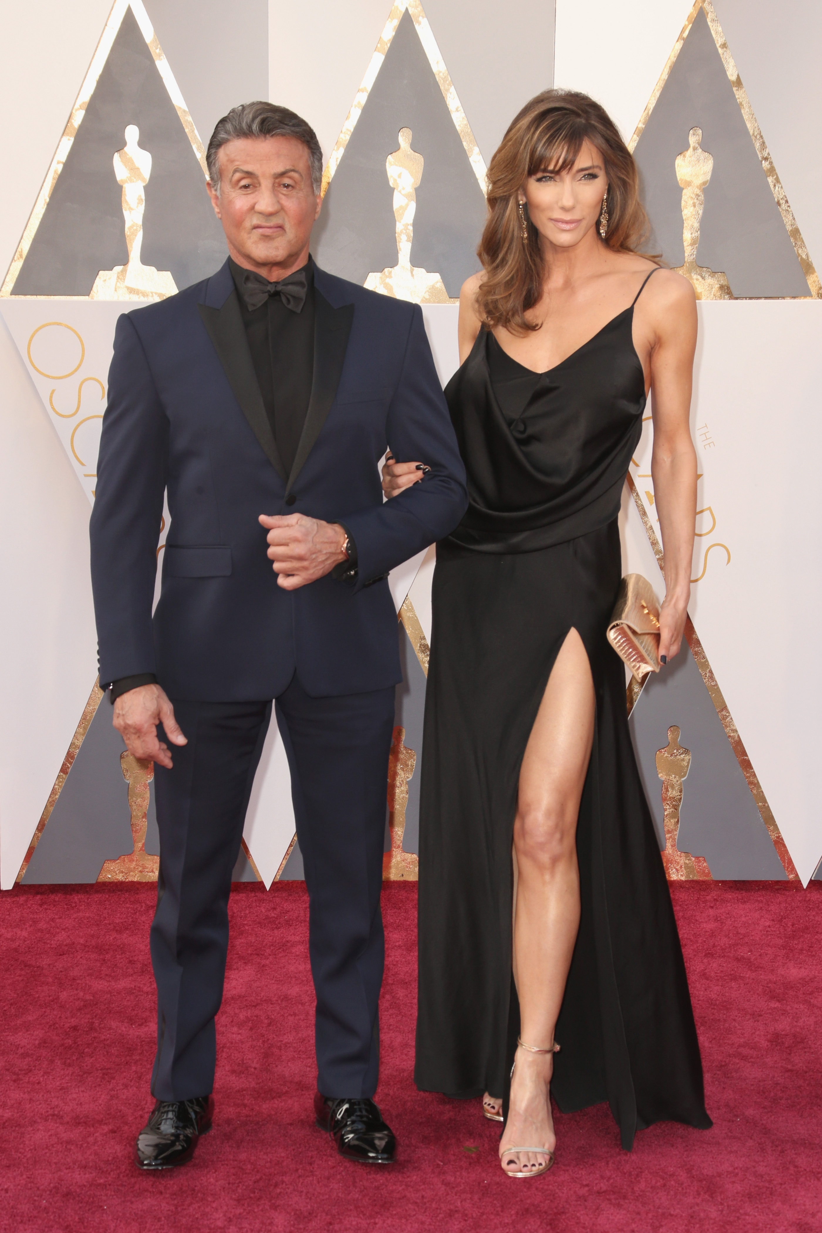 Sylvester Stallone and Jennifer Flavin attend the 88th Annual Academy Awards on Feb. 28, 2016 in Hollywood, Calif.