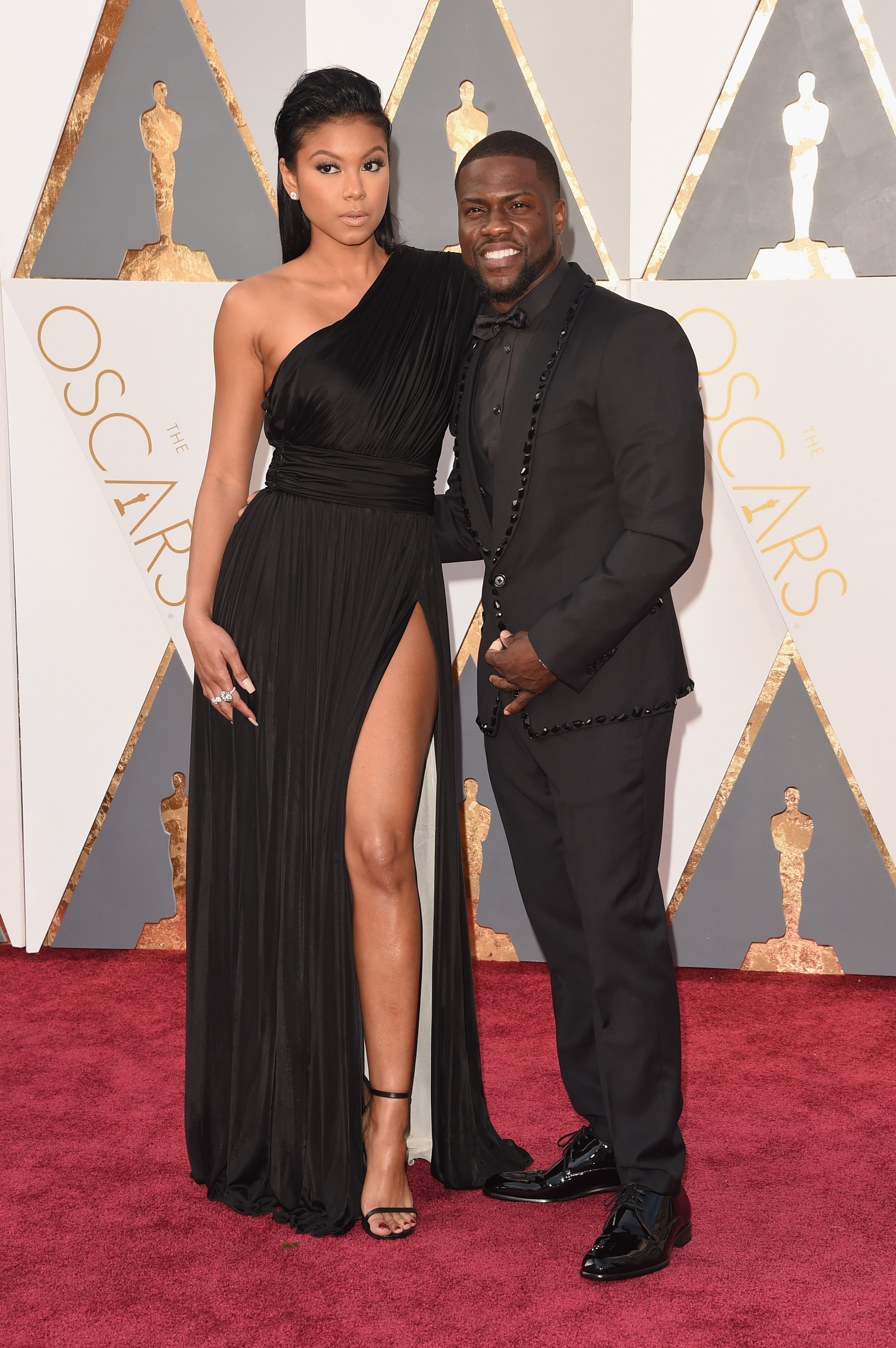 Eniko Parrish and Kevin Hart attend the 88th Annual Academy Awards on Feb. 28, 2016 in Hollywood, Calif.