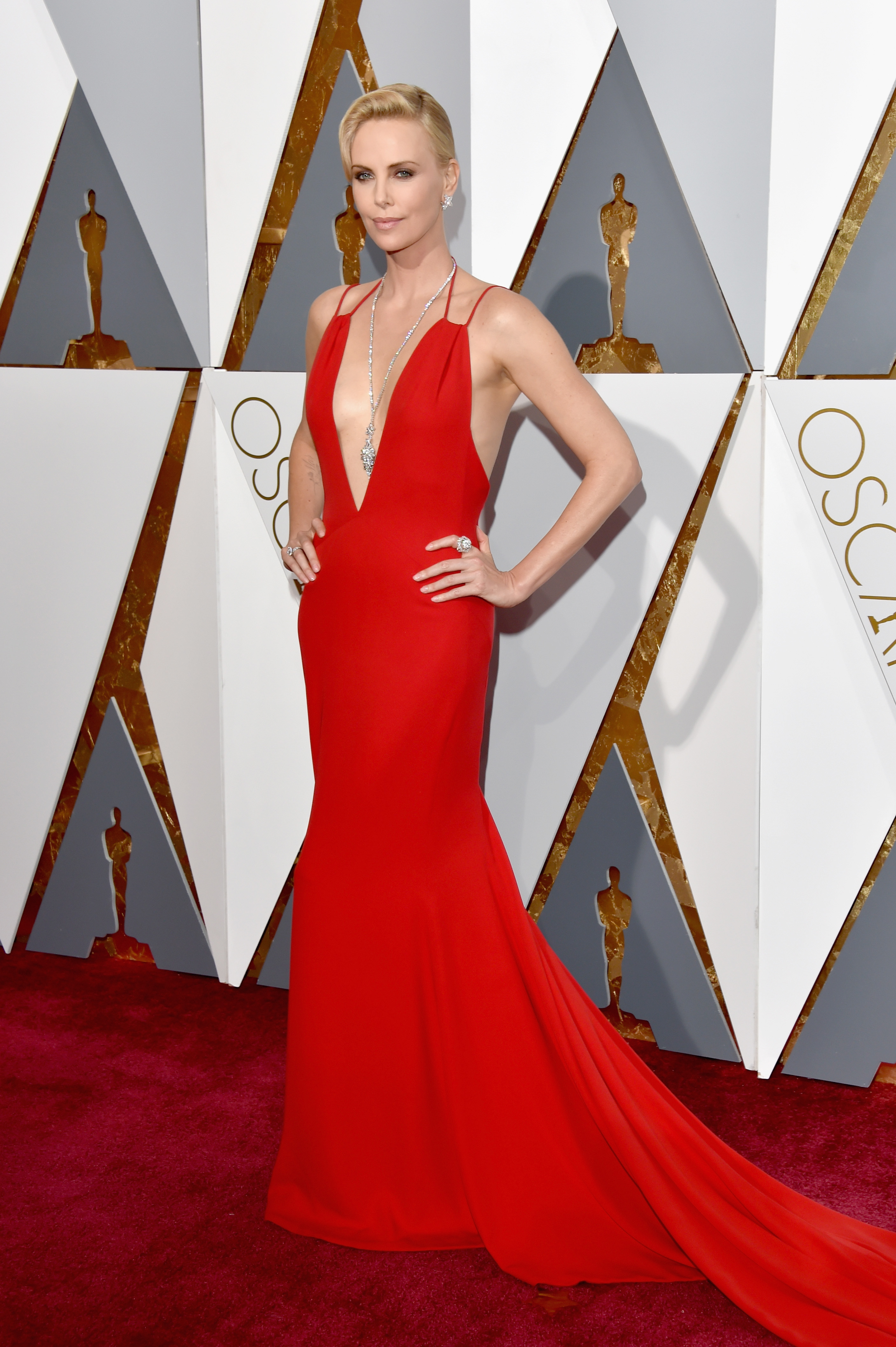 Charlize Theron attends the 88th Annual Academy Awards on Feb. 28, 2016 in Hollywood, Calif.