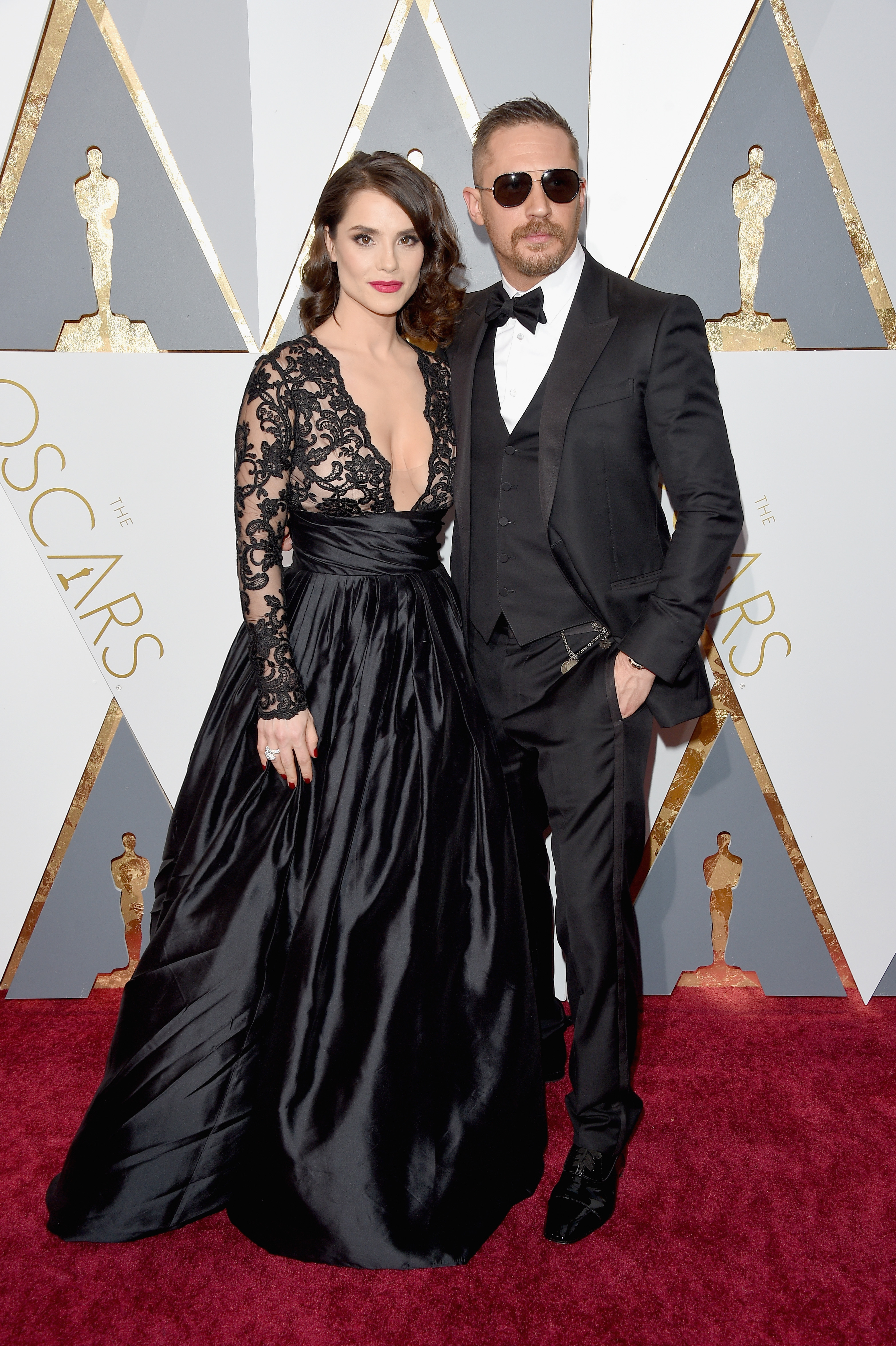 Charlotte Riley and Tom Hardy attend the 88th Annual Academy Awards on Feb. 28, 2016 in Hollywood, Calif.