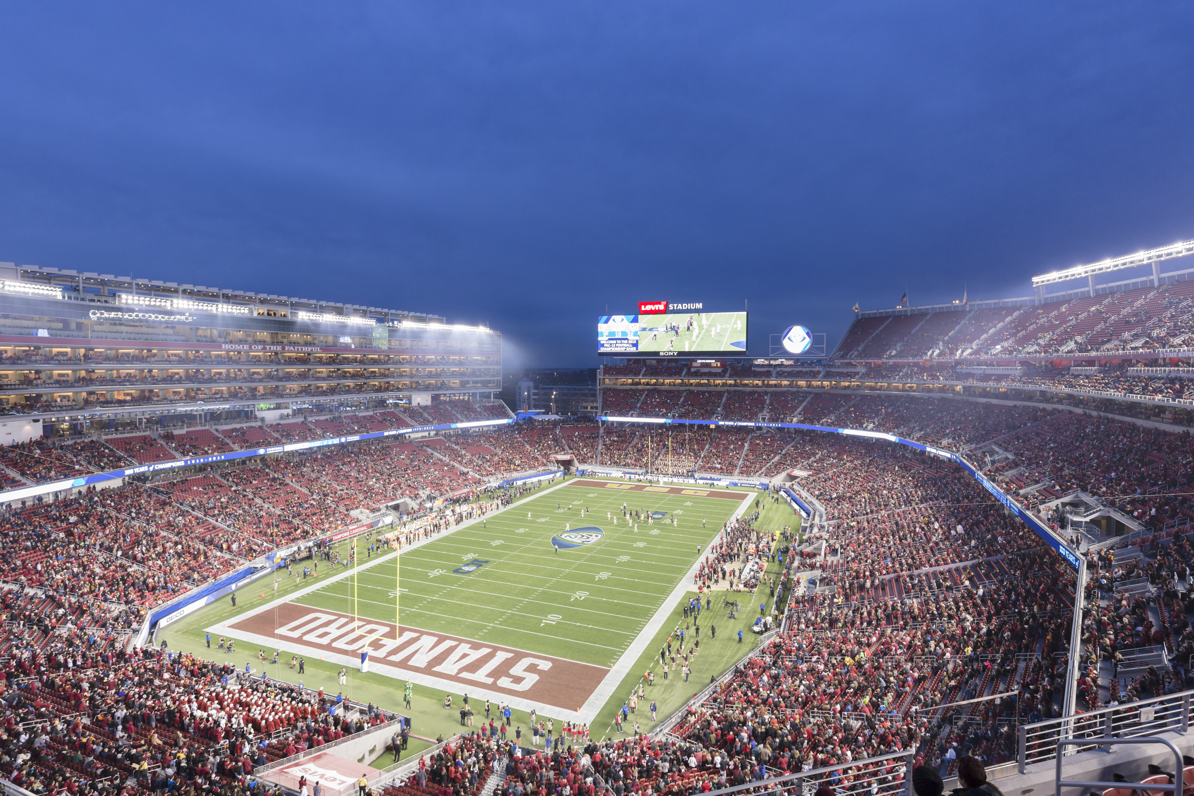 """The San Francisco 49ers moved into Levi's Stadium in Santa Clara, Calif., in 2014 after playing at Candlestick Park for 43 seasons. Levi's, the first NFL stadium with LEED Gold certification, has a """"green roof"""" and is also installing three bridges covered in solar panels."""