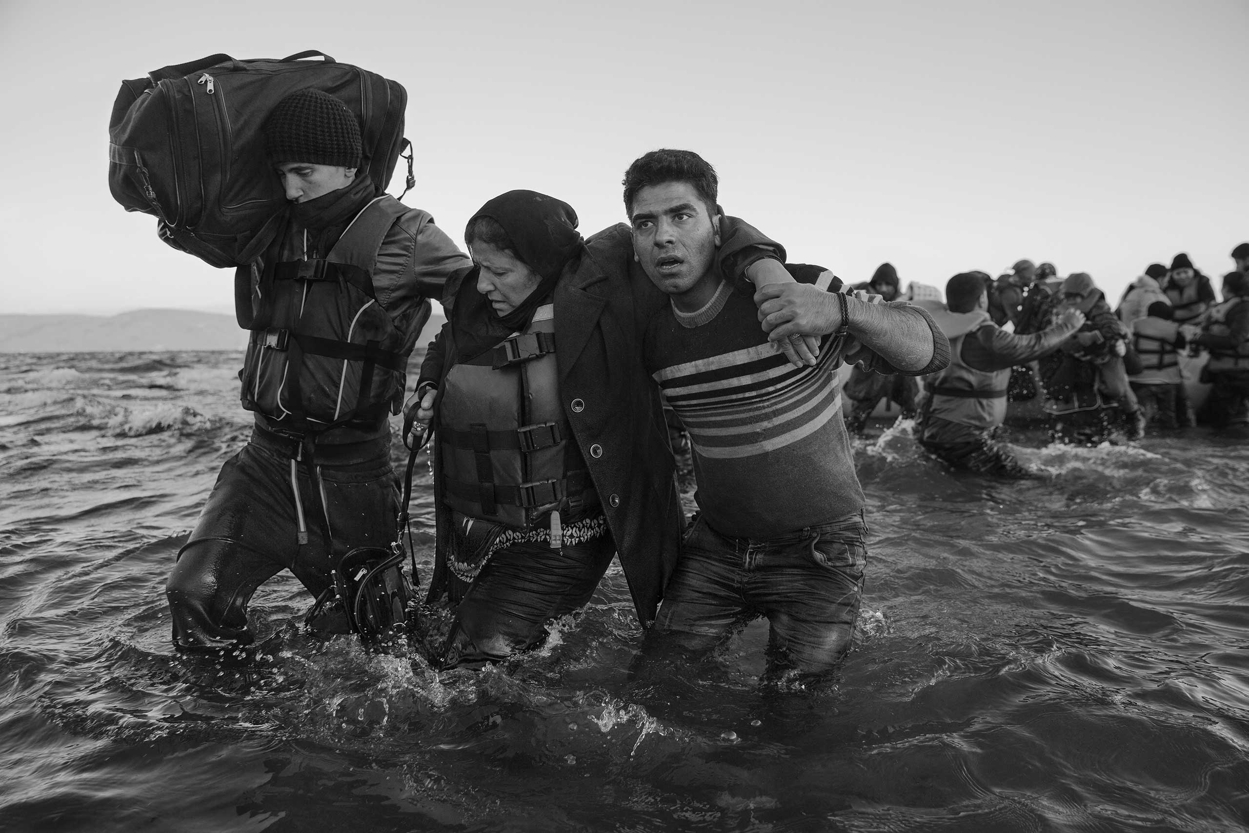 Refugees from Syria, Afghanistan, Pakistan, Somalia, Iran cross the sea between Turkey and Greece by means of inflatable pontoon rafts to the island of Lesbos as the first step in making their way across Europe.