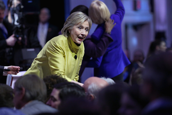 Democratic presidential candidate Hillary Clinton greets guests after participating in the PBS NewsHour Democratic presidential candidate debate at the University of Wisconsin-Milwaukee on February 11, 2016 in Milwaukee, Wisconsin. Win McNamee—Getty Images