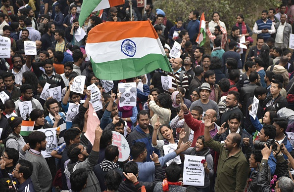 Jawaharlal Nehru University students took out a march in support of Kanhaiya Kumar, president of JNU's students' union, at the university's campus in New Delhi on Feb. 18, 2016