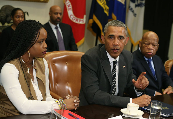 WASHINGTON, DC - FEBRUARY 18:  U.S. President Barack Obama (C) speaks about race relations while flanked by Brittany Packnett (L), and Rep. John Lewis (D-GA), in the Roosevelt Room at the White House, February 18, 2016 in Washington, DC.  President Obama met with African American faith and civil rights leaders before an event to celebrate Black History Month.  Mark Wilson—Getty Images