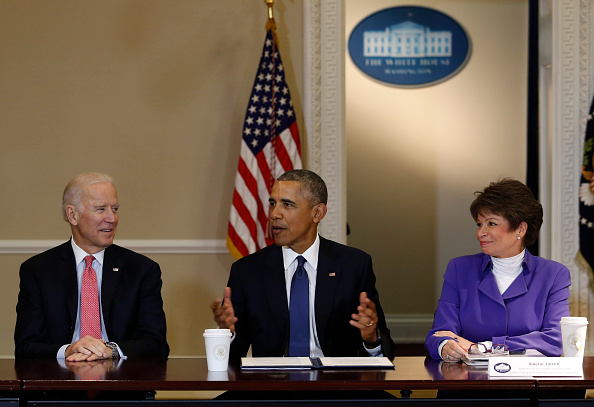 President Barack Obama speaks during a meeting of the Democratic Governors Association while Vice President Joe Biden (3L) and  Senior Advisor to the President Valerie Jarrett (2R) listen at the Eisenhower Executive Office Building at the White House on February 19, 2016 in Washington, DC. Pool—Getty Images
