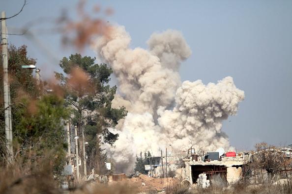 Smoke rises following an air strike targeting rebels in Daraya, southwest of the Syrian capital Damascus, on Feb. 24, 2016
